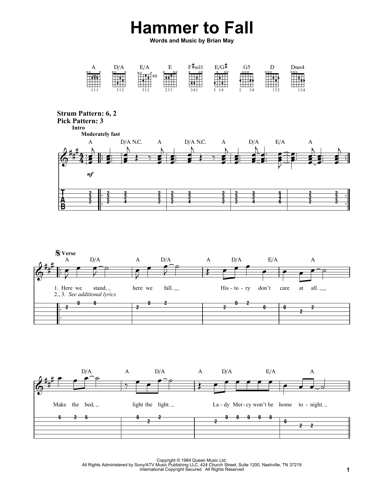 Hammer To Fall (Easy Guitar Tab)
