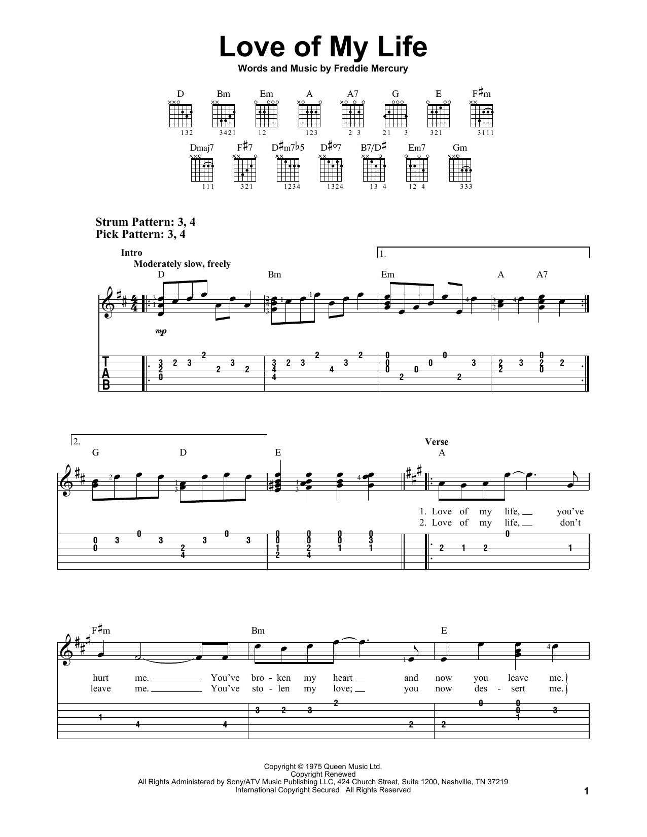Love Of My Life (Easy Guitar Tab)