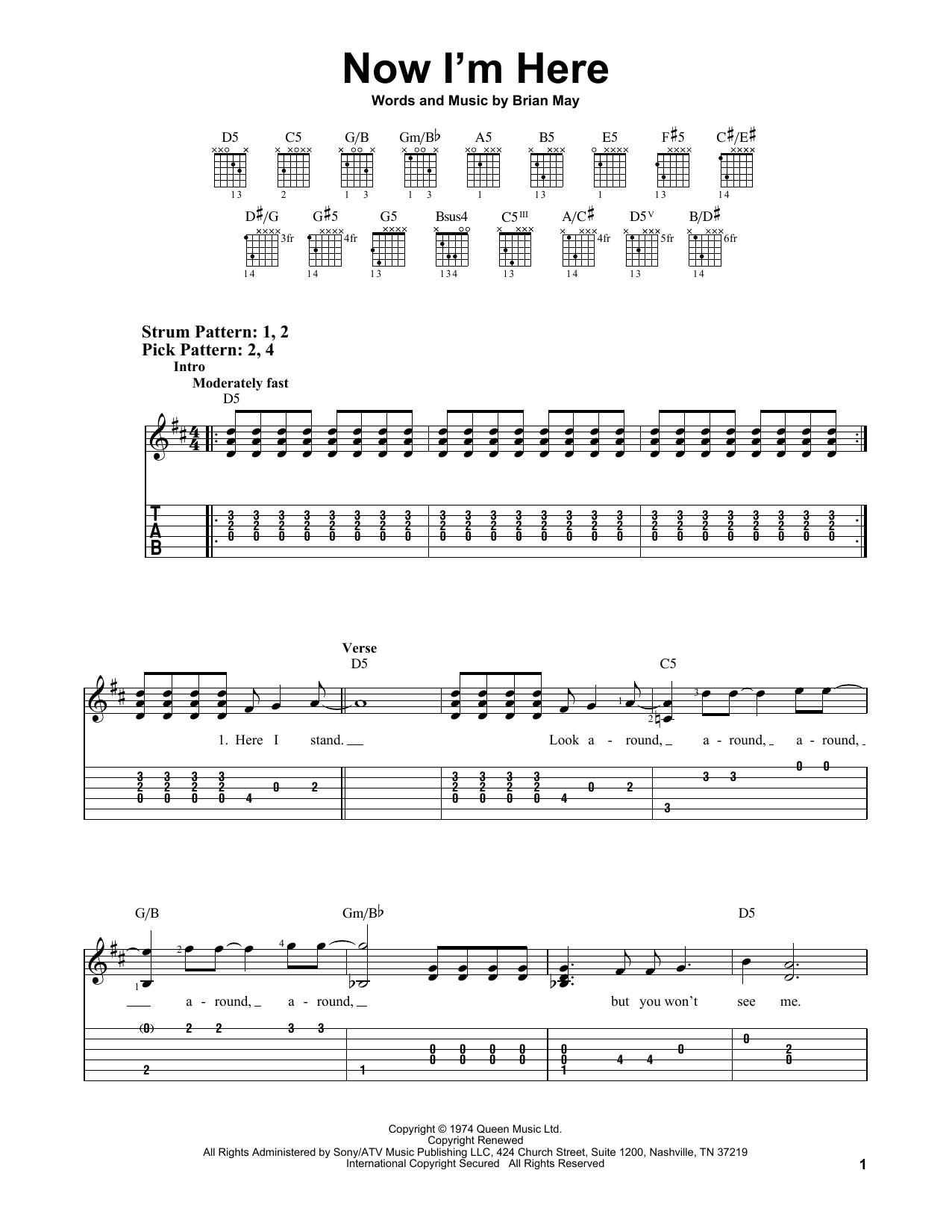 Now I'm Here (Easy Guitar Tab)