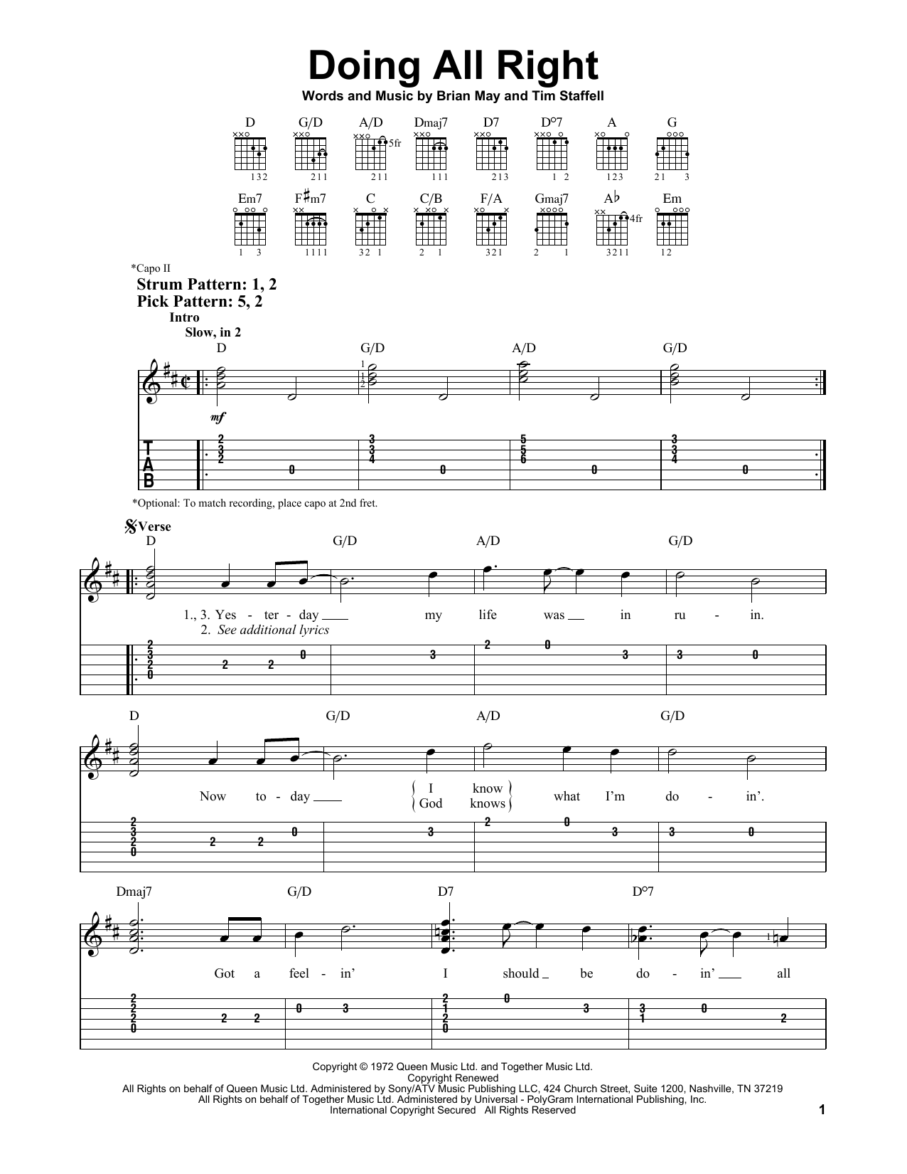 Doing All Right (Easy Guitar Tab)