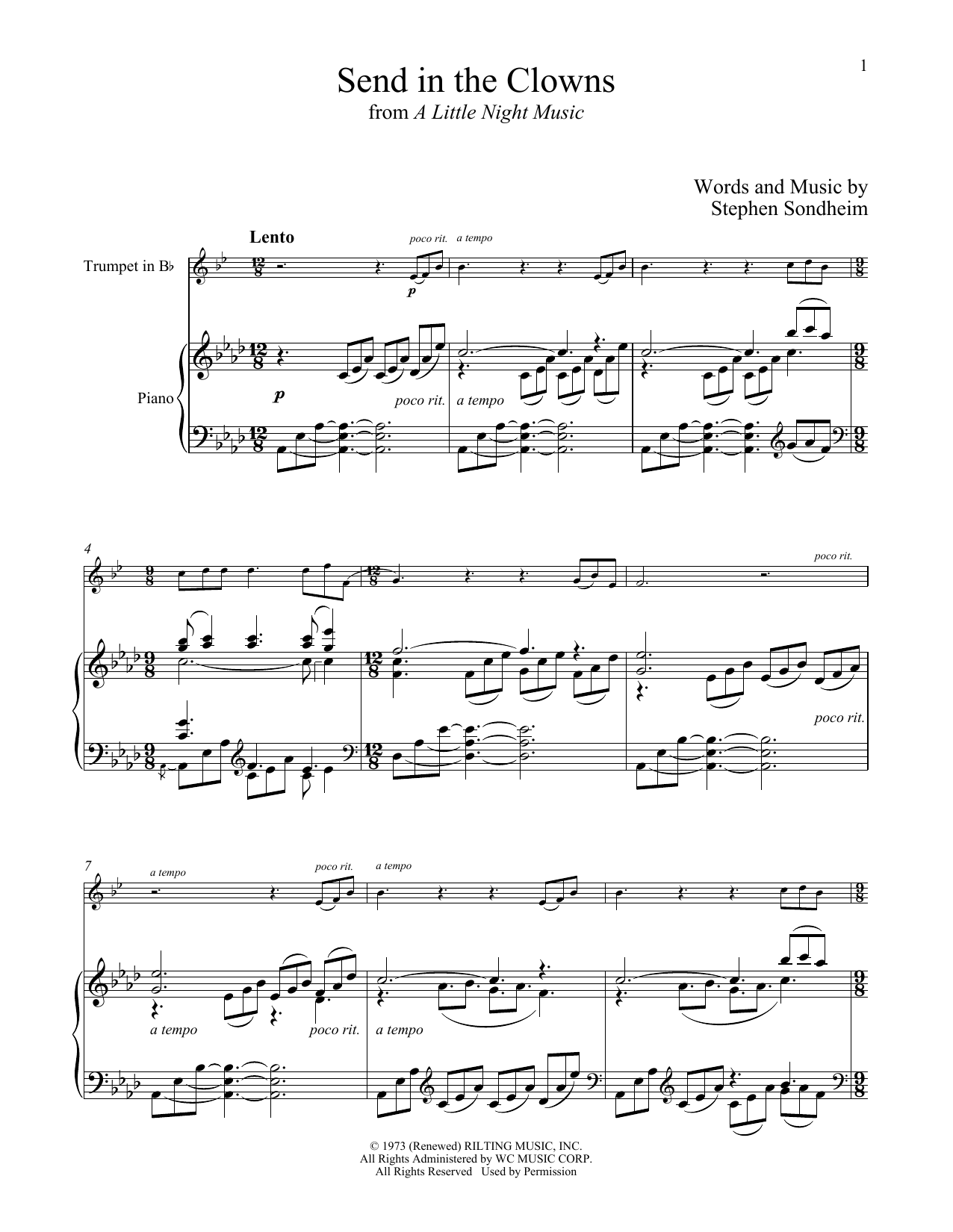 Send In The Clowns (from A Little Night Music) (Trumpet and Piano)