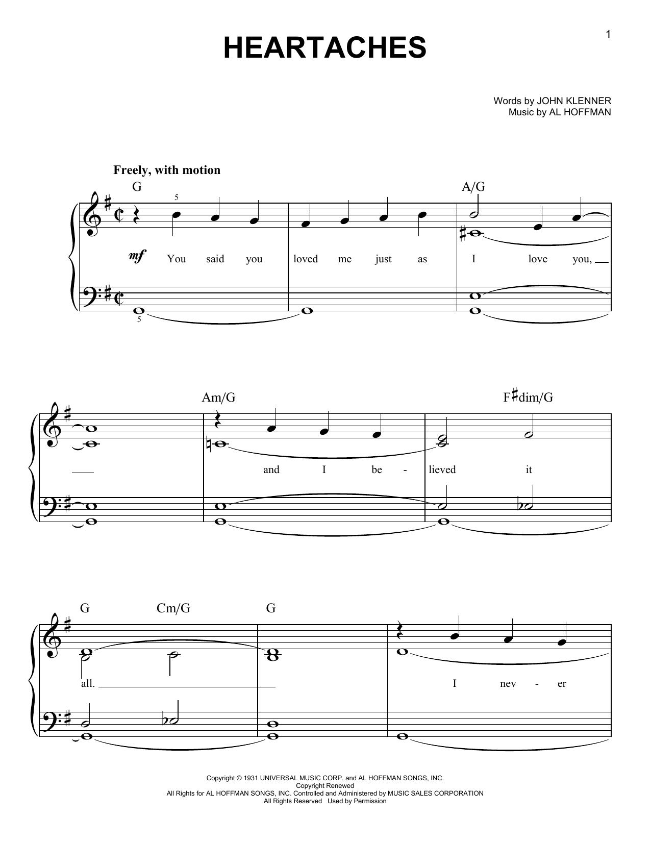 Heartaches (Easy Piano)