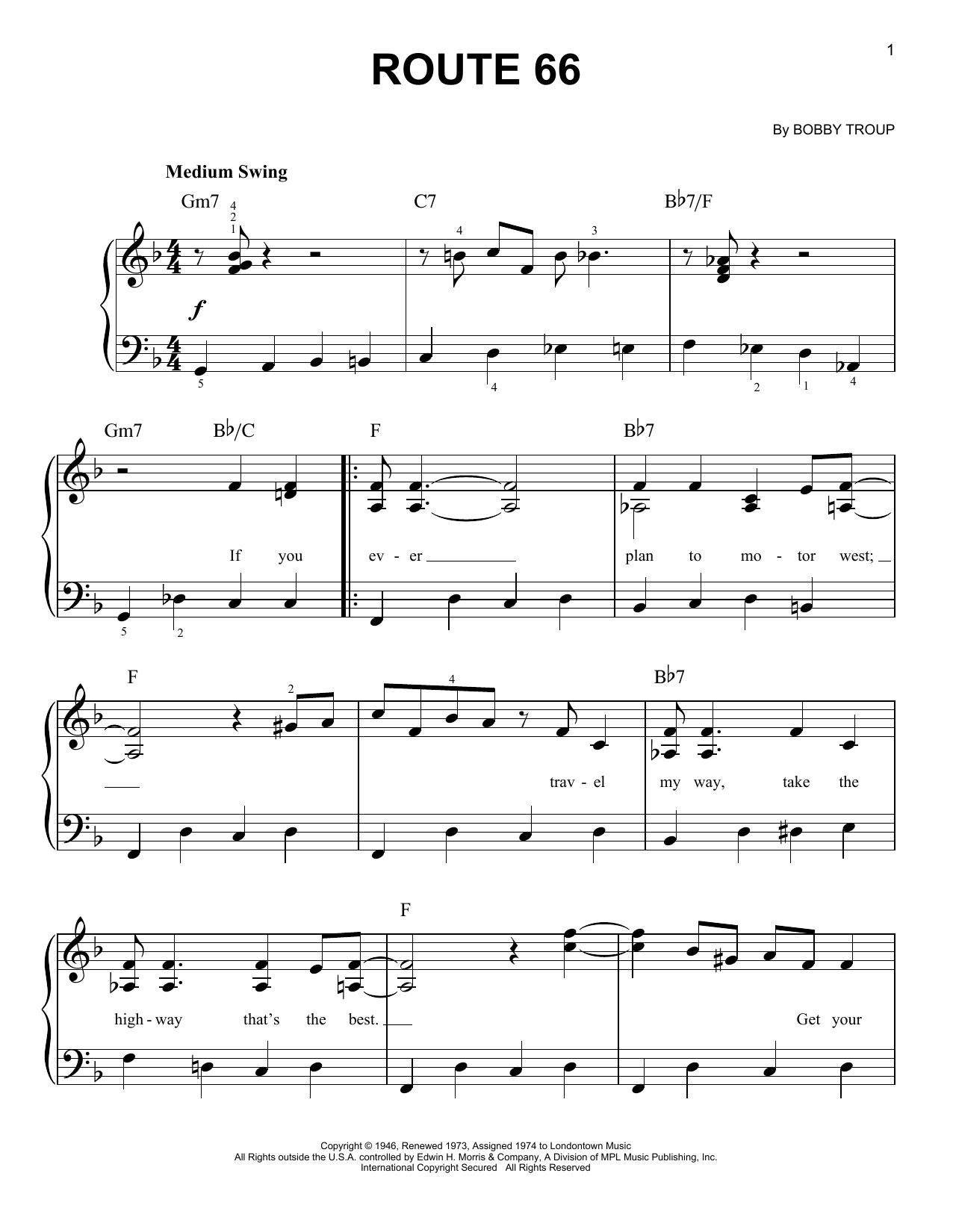 Route 66 (Easy Piano)