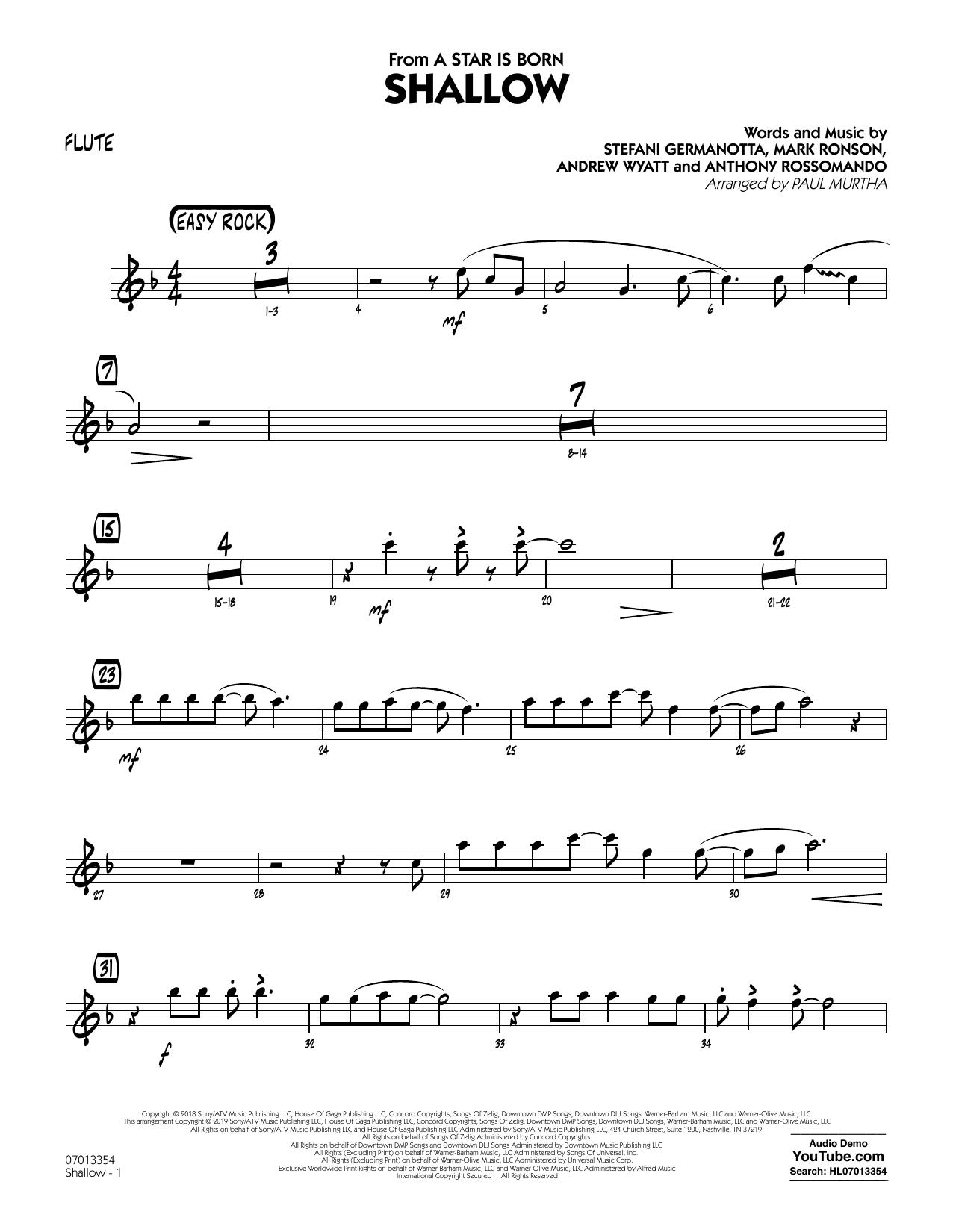 Shallow (from A Star Is Born) (arr  Paul Murtha) - Flute by Lady Gaga &  Bradley Cooper Jazz Ensemble Digital Sheet Music