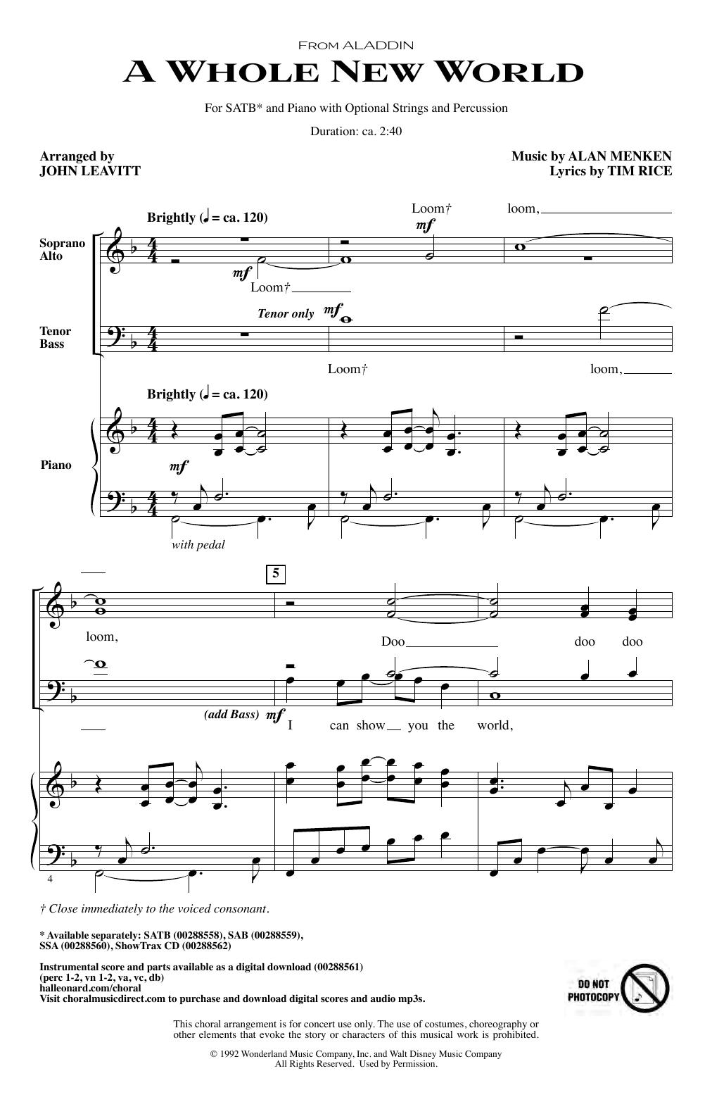 A Whole New World (from Aladdin) (arr. John Leavitt) (SATB Choir)