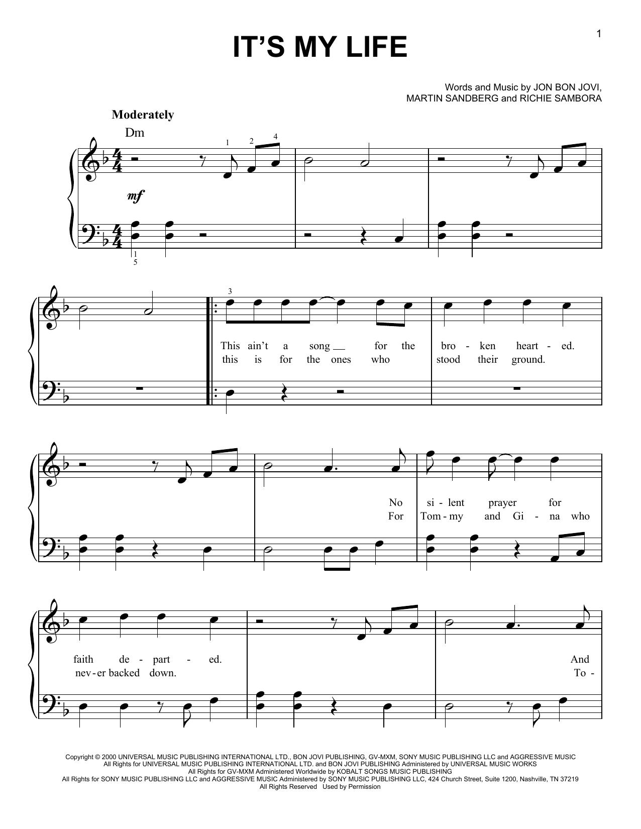 It's My Life (Easy Piano)