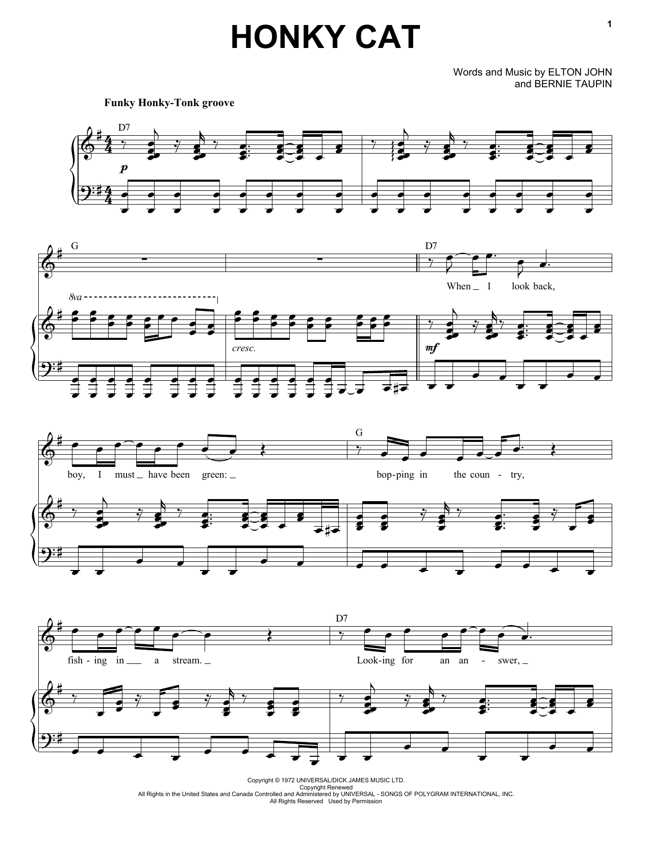 Honky Cat (Piano & Vocal)