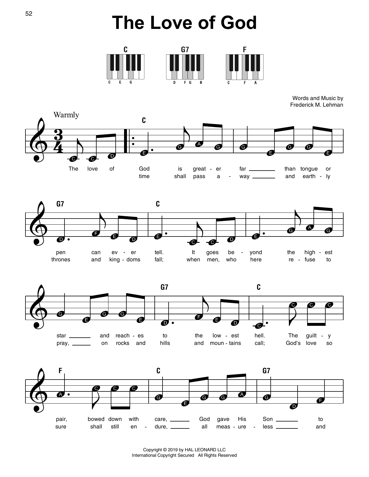 The Love Of God (Super Easy Piano)
