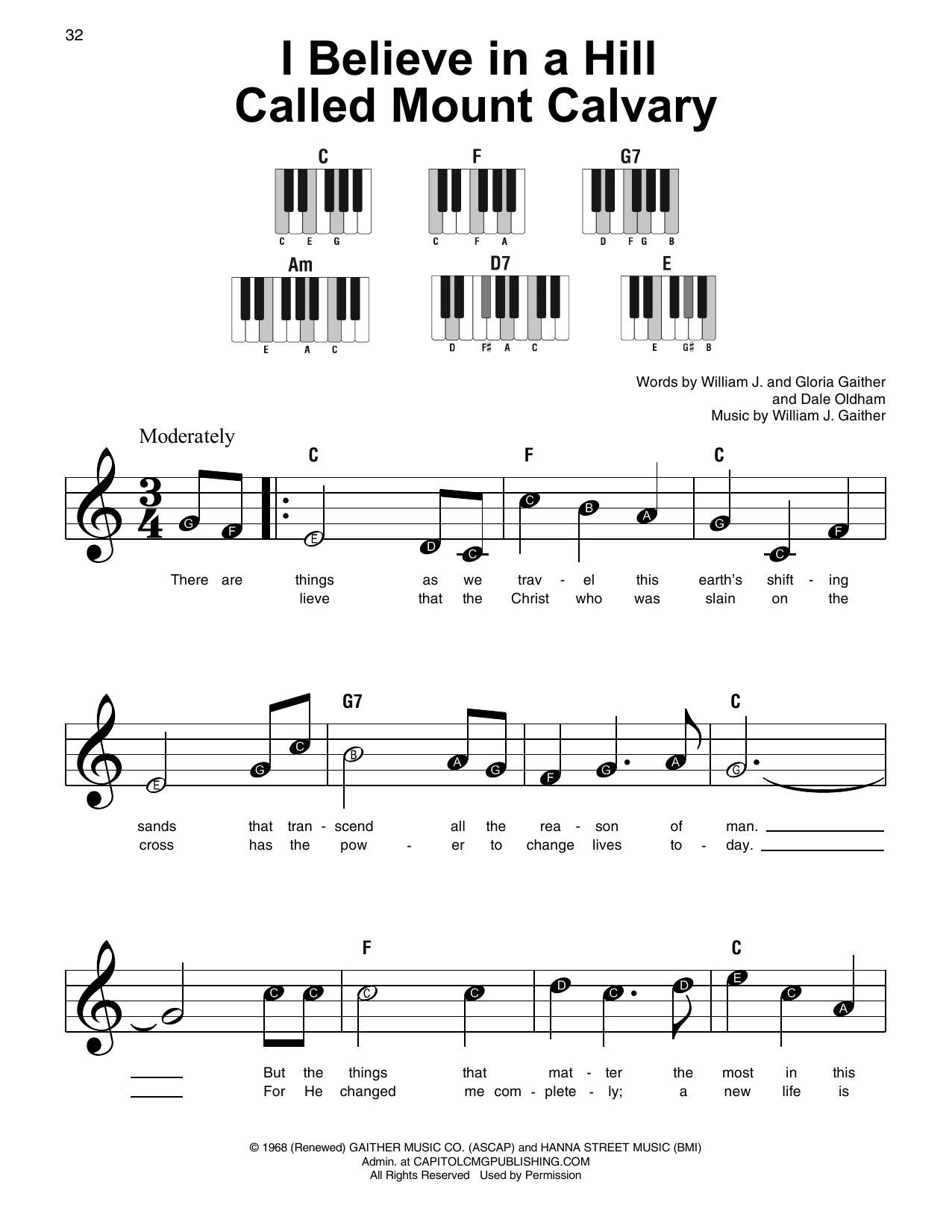 I Believe In A Hill Called Mount Calvary (Super Easy Piano)