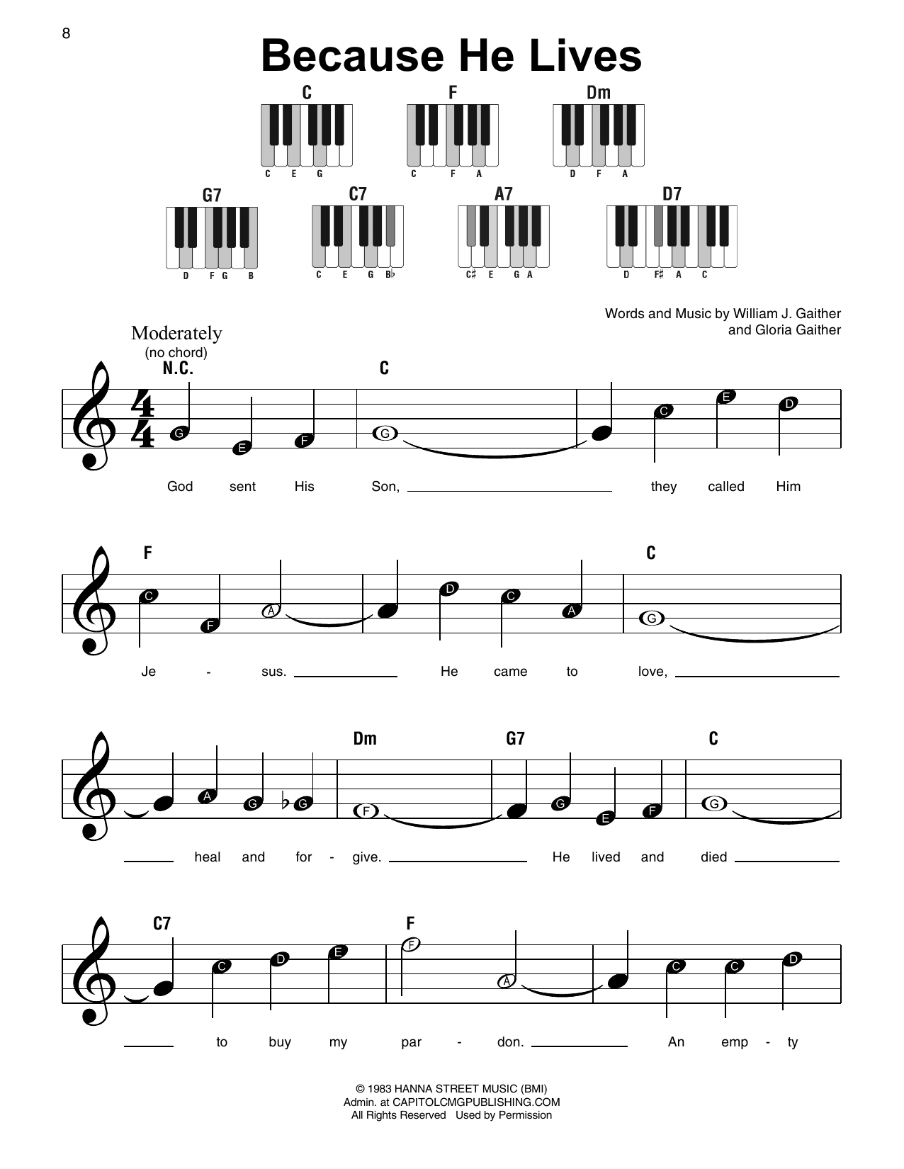 Because He Lives (Super Easy Piano)
