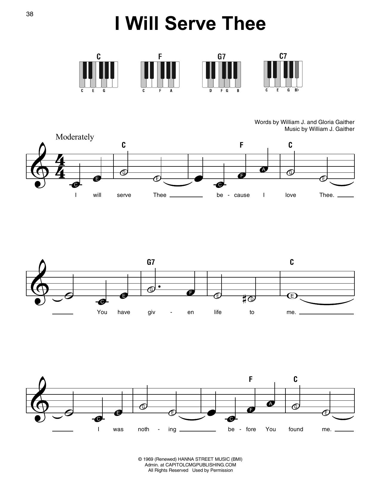I Will Serve Thee (Super Easy Piano)