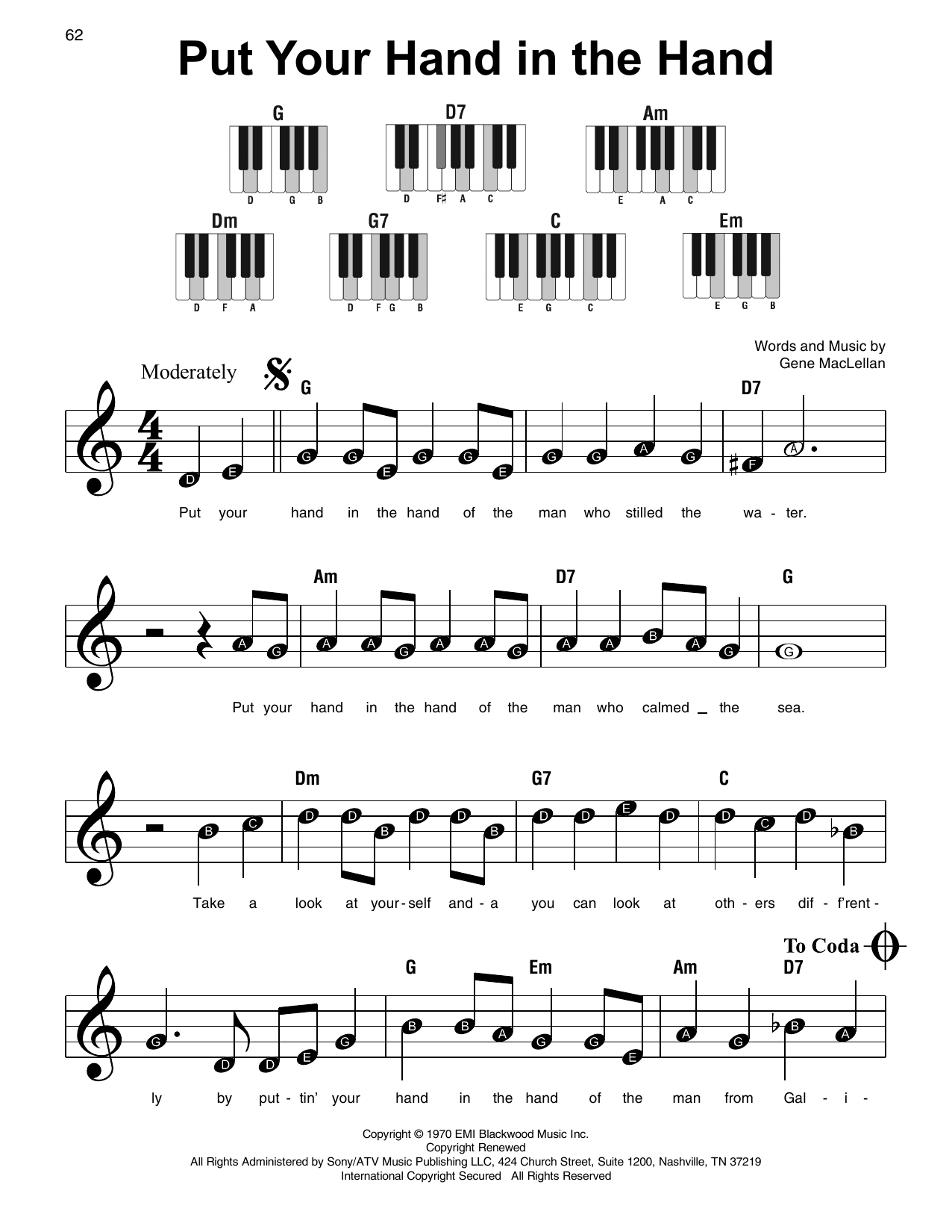 Put Your Hand In The Hand (Super Easy Piano)