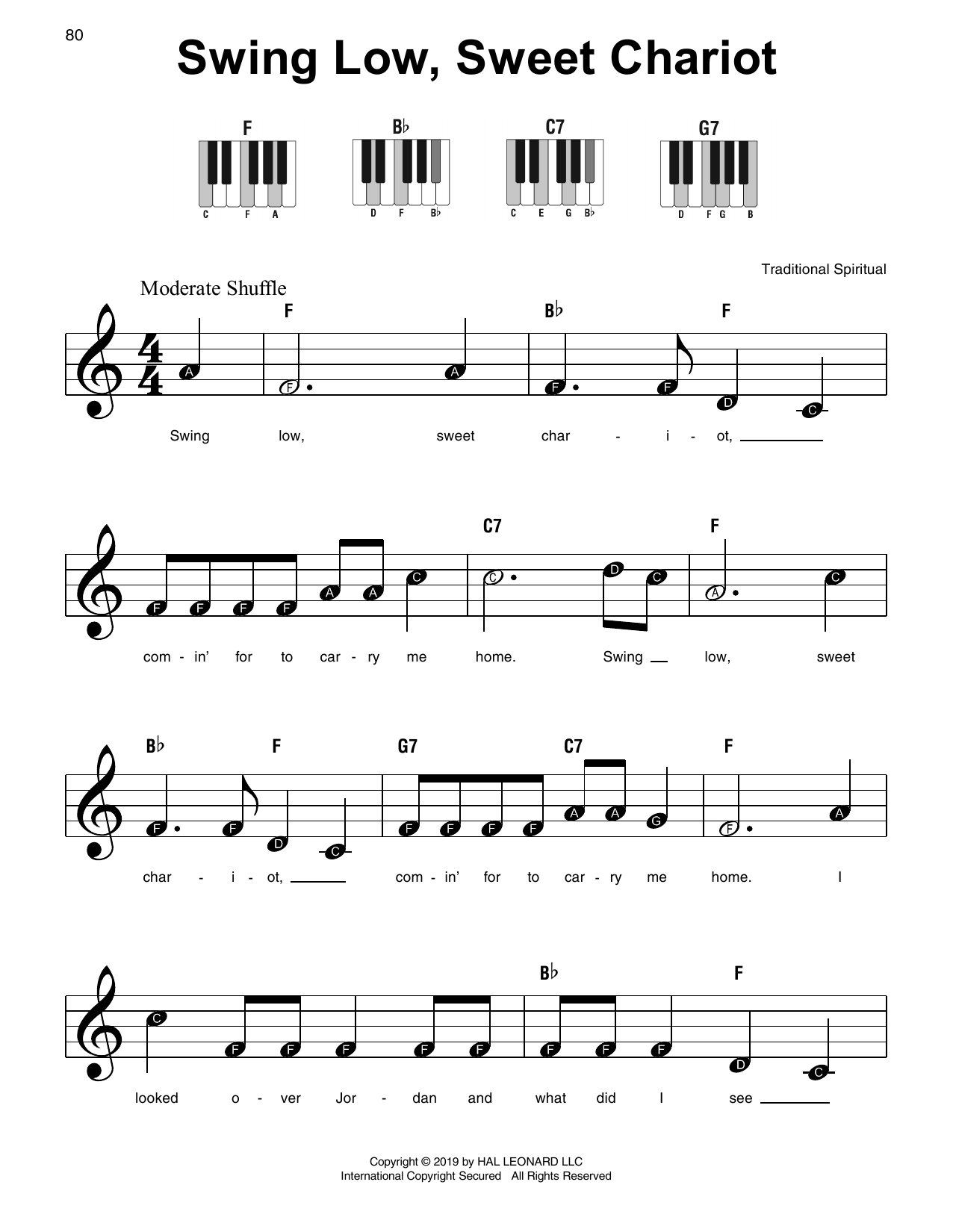 Swing Low, Sweet Chariot (Super Easy Piano)