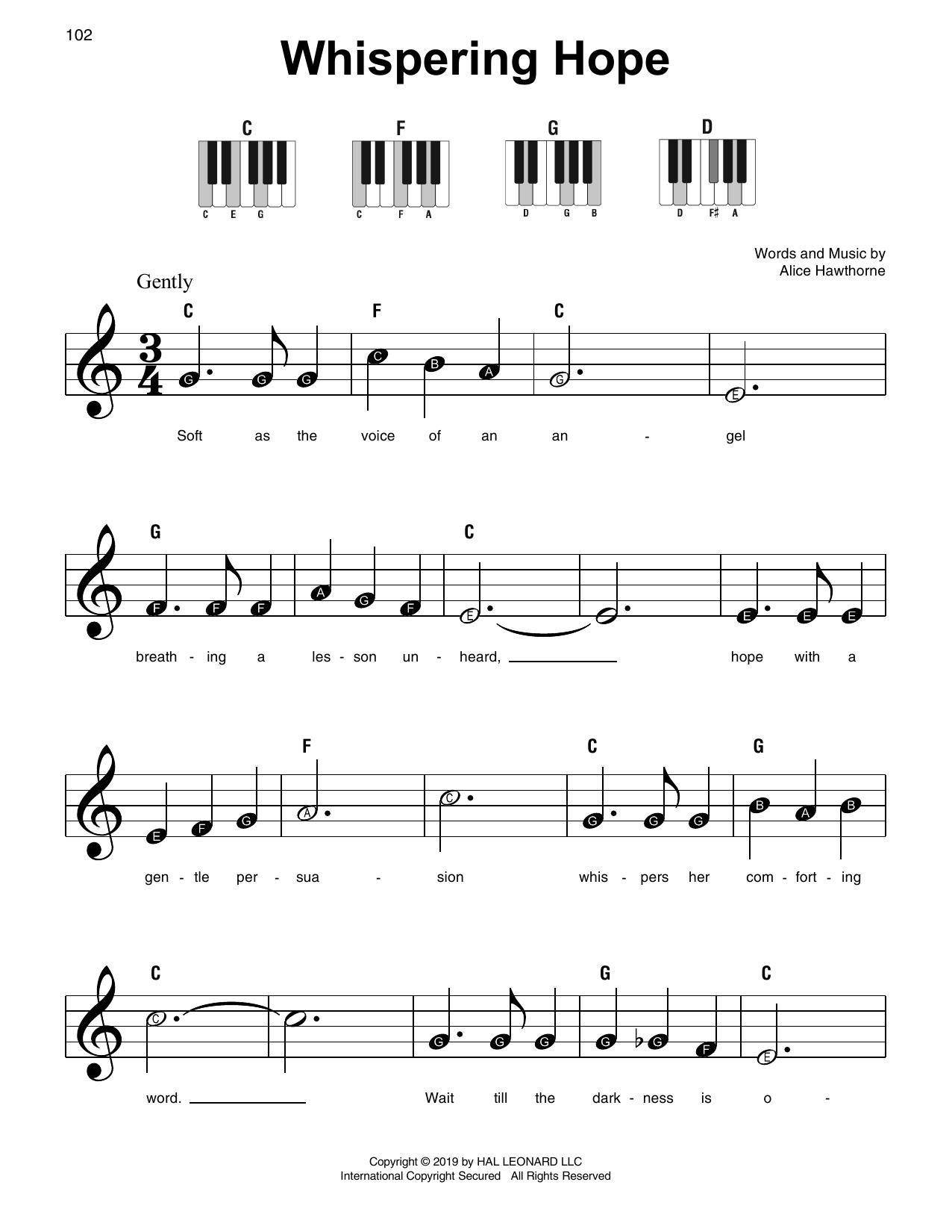Whispering Hope (Super Easy Piano)
