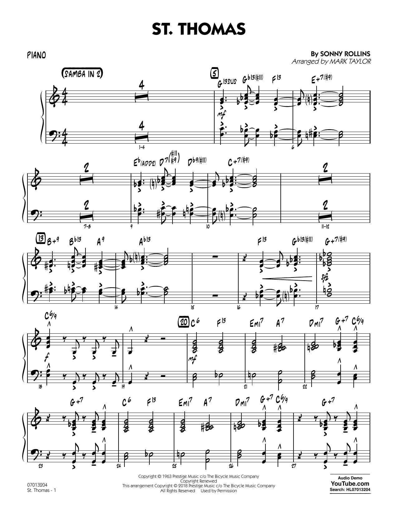 St. Thomas (arr. Mark Taylor) - Piano (Jazz Ensemble)