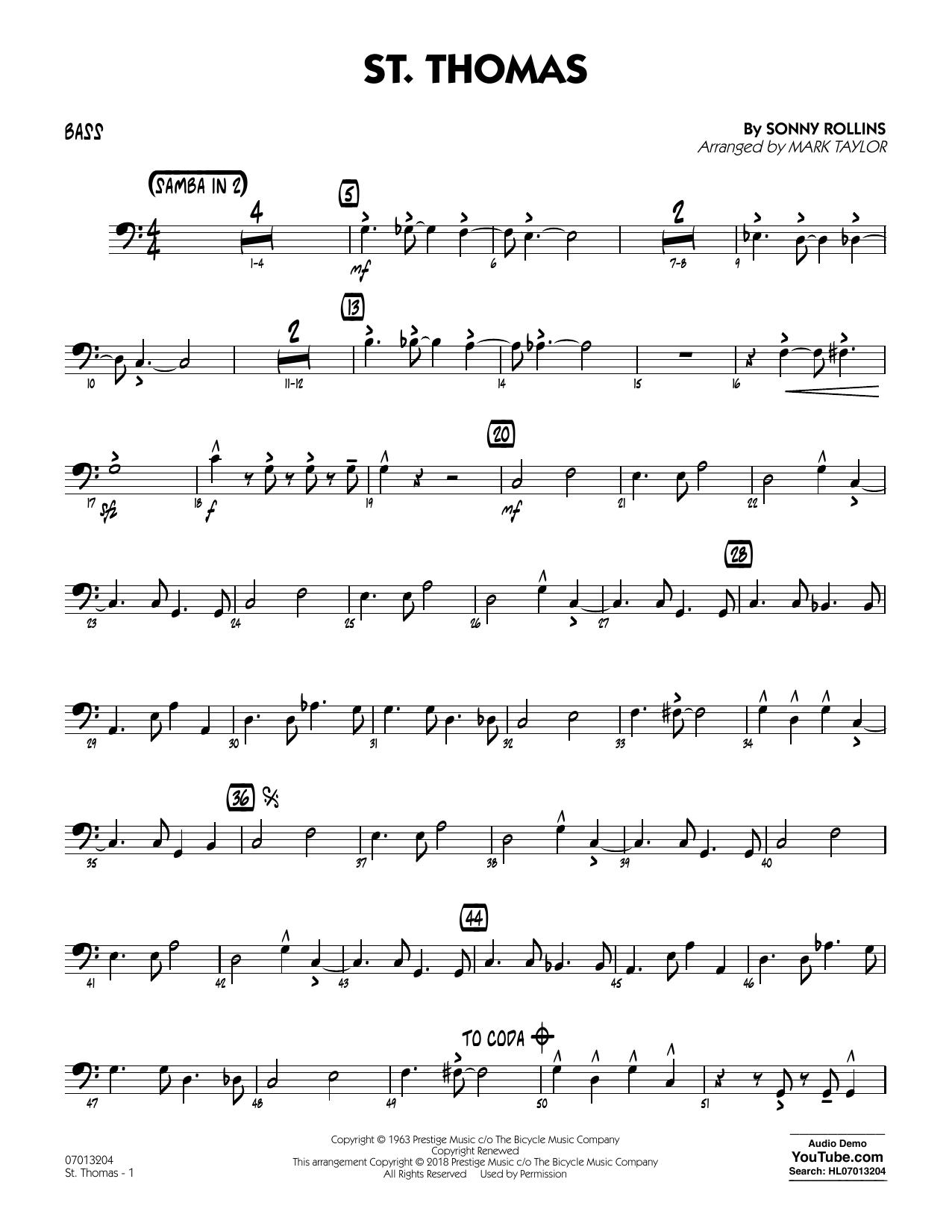 St. Thomas (arr. Mark Taylor) - Bass (Jazz Ensemble)