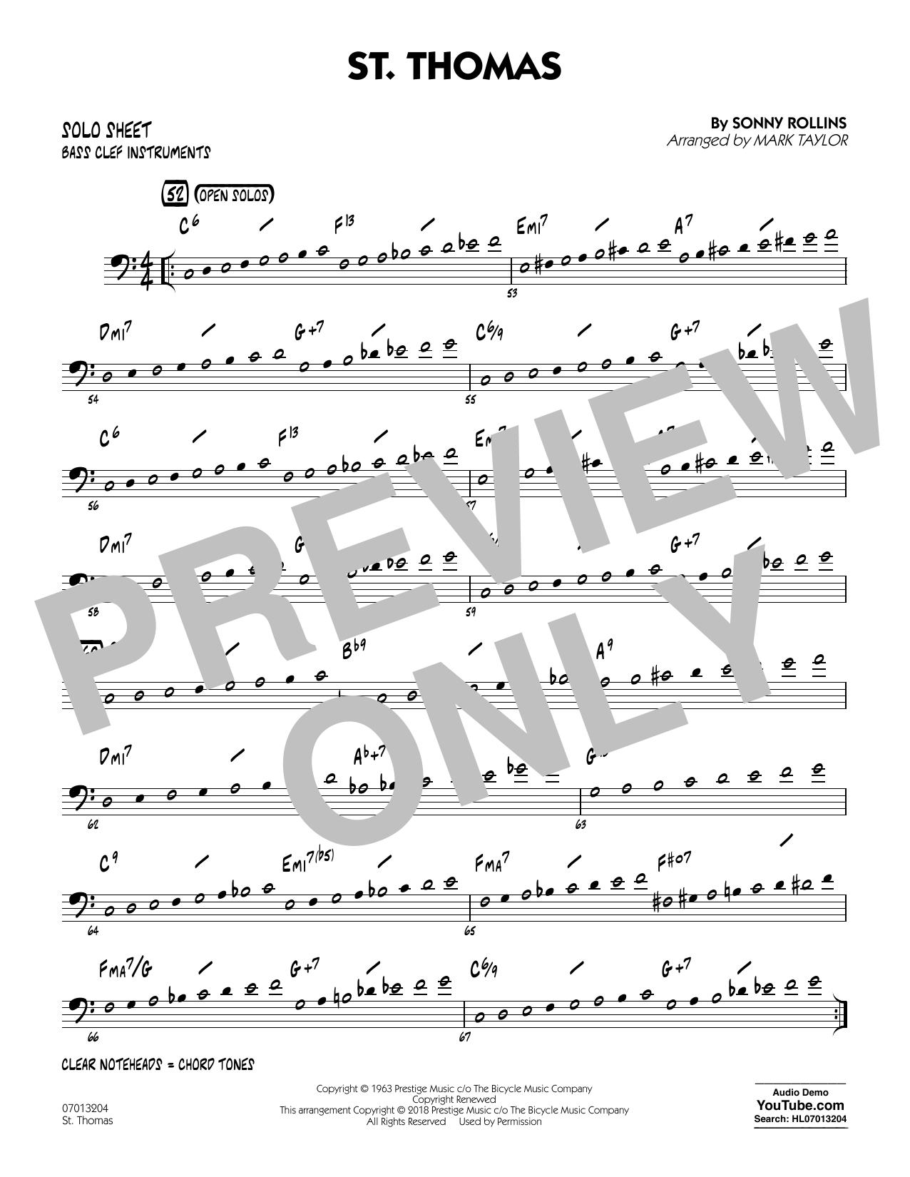St. Thomas (arr. Mark Taylor) - Bass Clef Solo Sheet (Jazz Ensemble)
