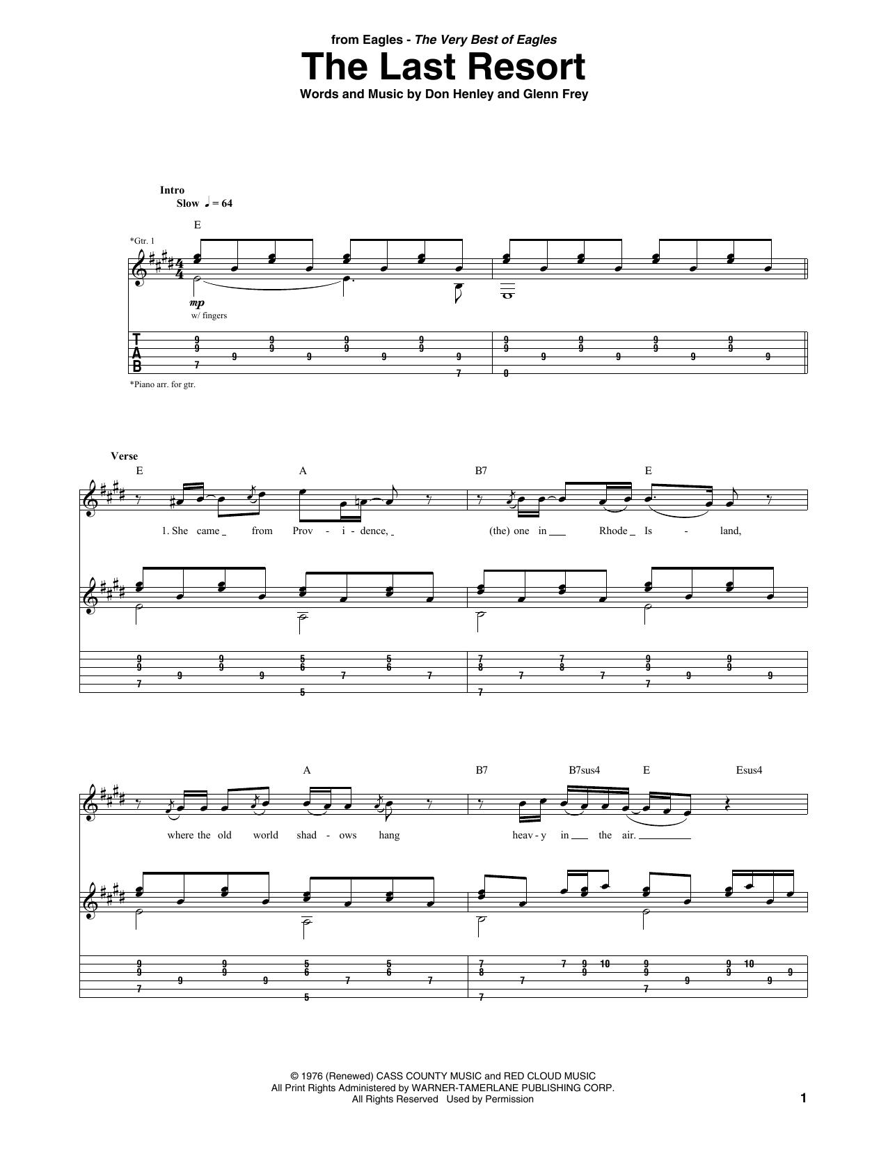 The Last Resort (Guitar Tab)