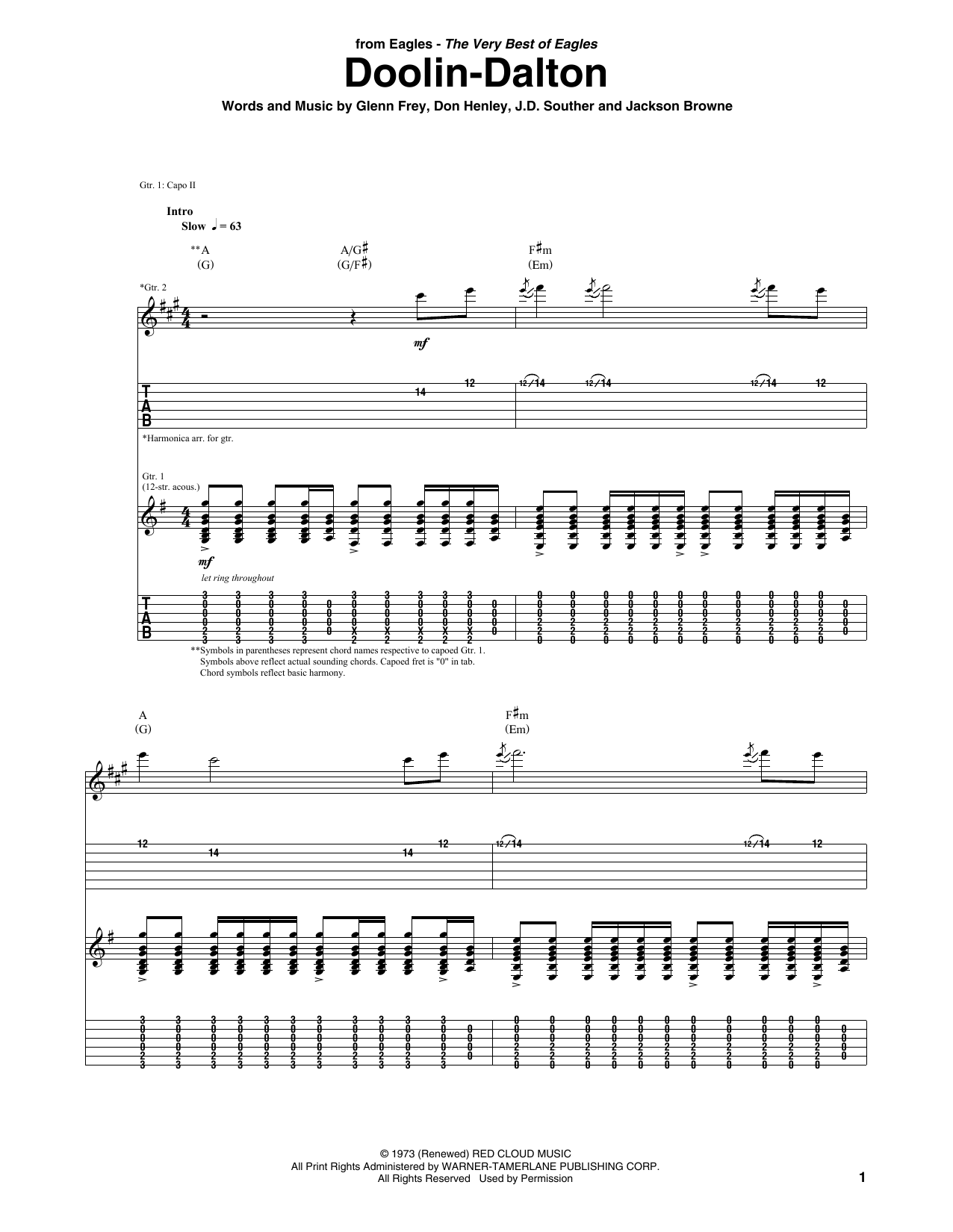 Doolin-Dalton (Guitar Tab)