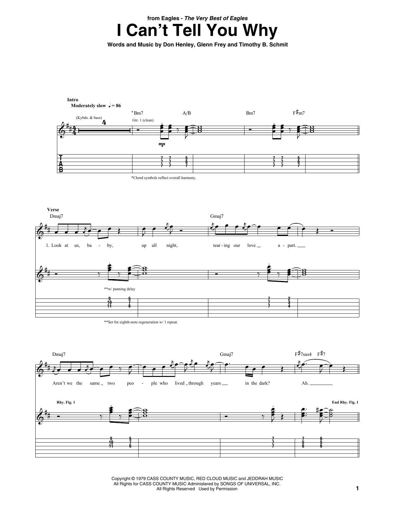 I Can't Tell You Why (Guitar Tab)