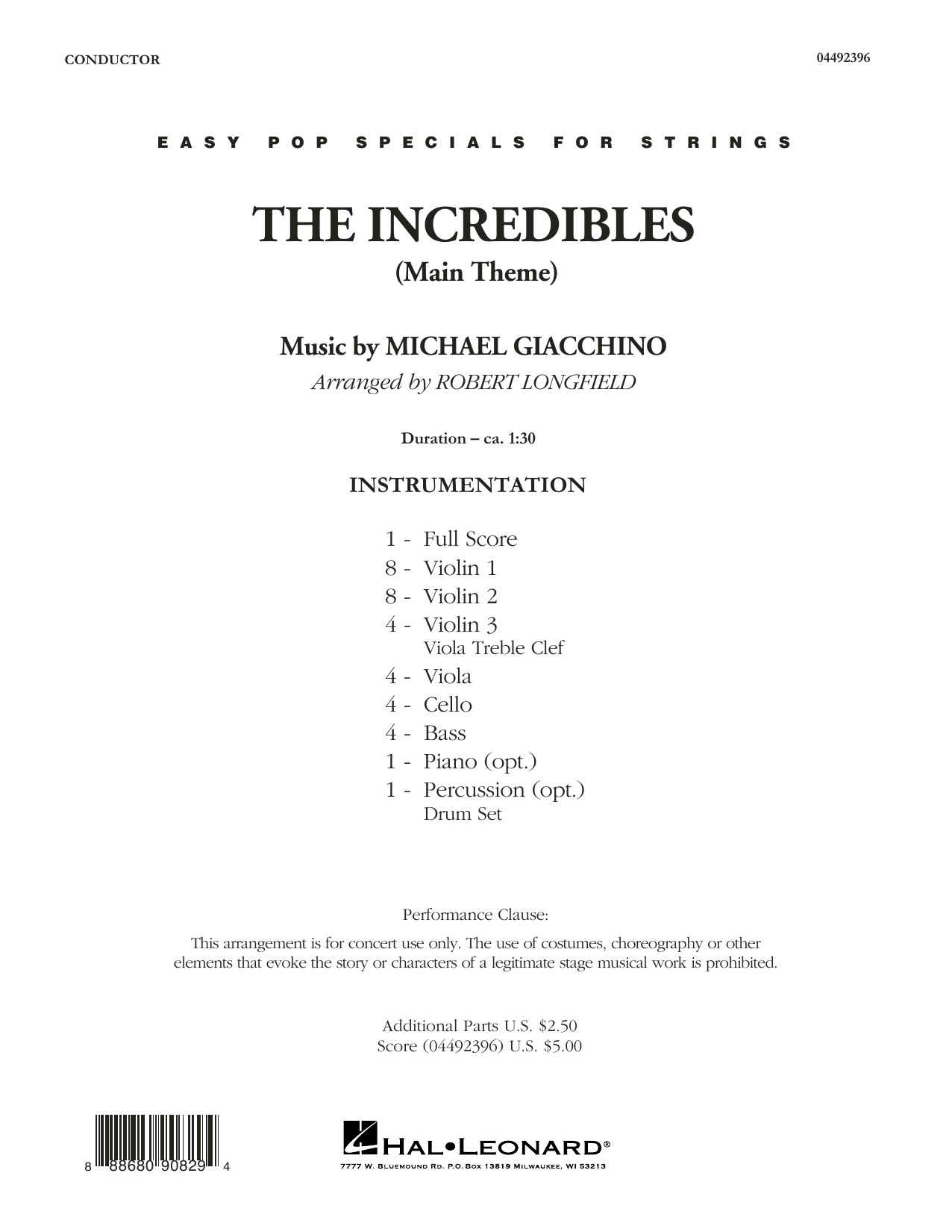 The Incredibles (Main Theme) (arr. Robert Longfield) - Conductor Score (Full Score) (Orchestra)