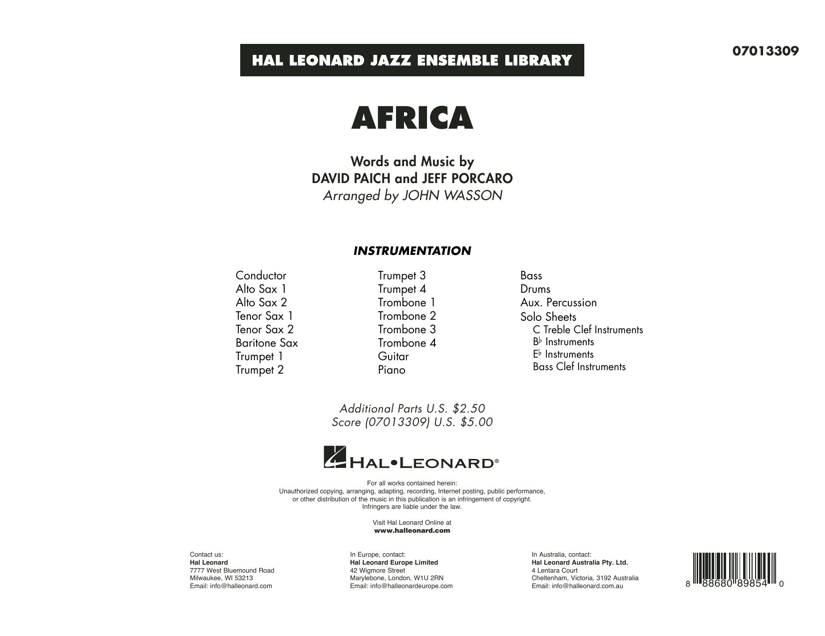 Africa (arr. John Wasson) - Conductor Score (Full Score) (Jazz Ensemble)