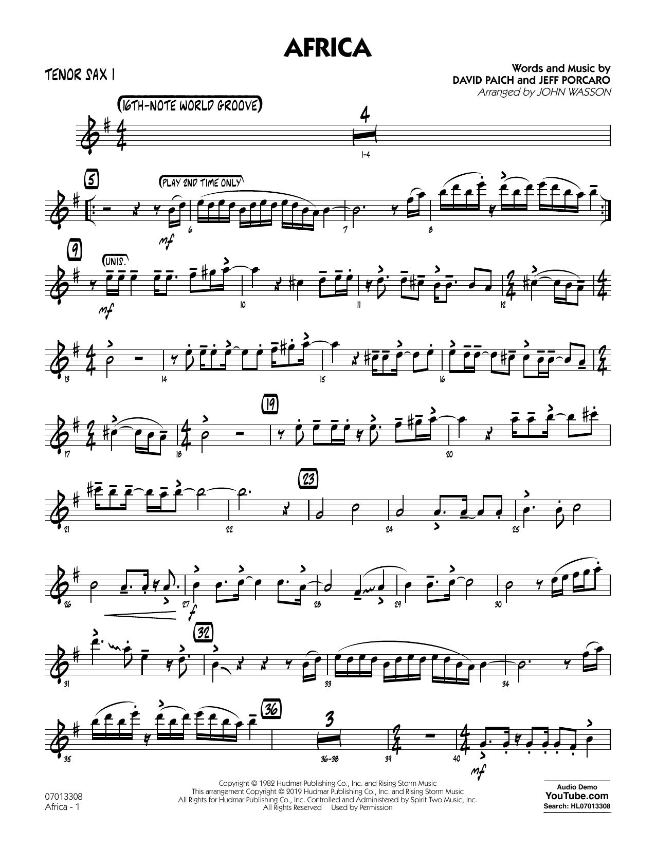 Africa (arr. John Wasson) - Tenor Sax 1 (Jazz Ensemble)