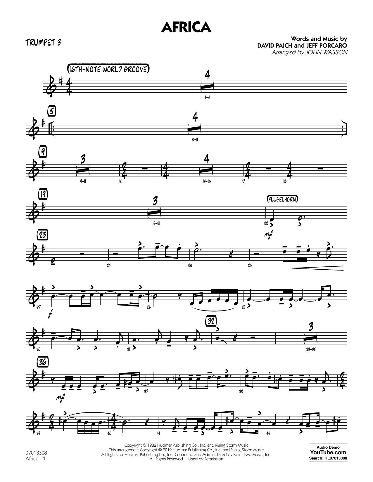 Africa (arr. John Wasson) - Trumpet 3 (Jazz Ensemble)