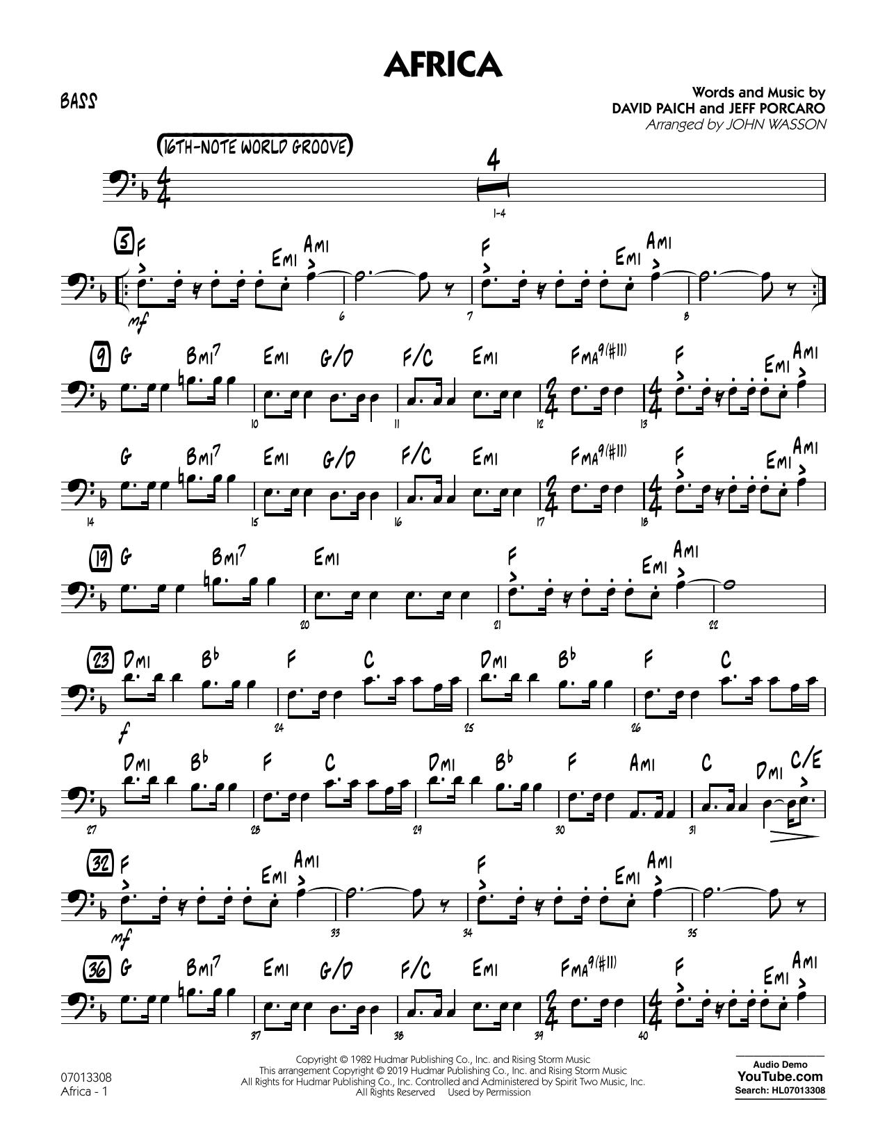 Africa (arr. John Wasson) - Bass (Jazz Ensemble)