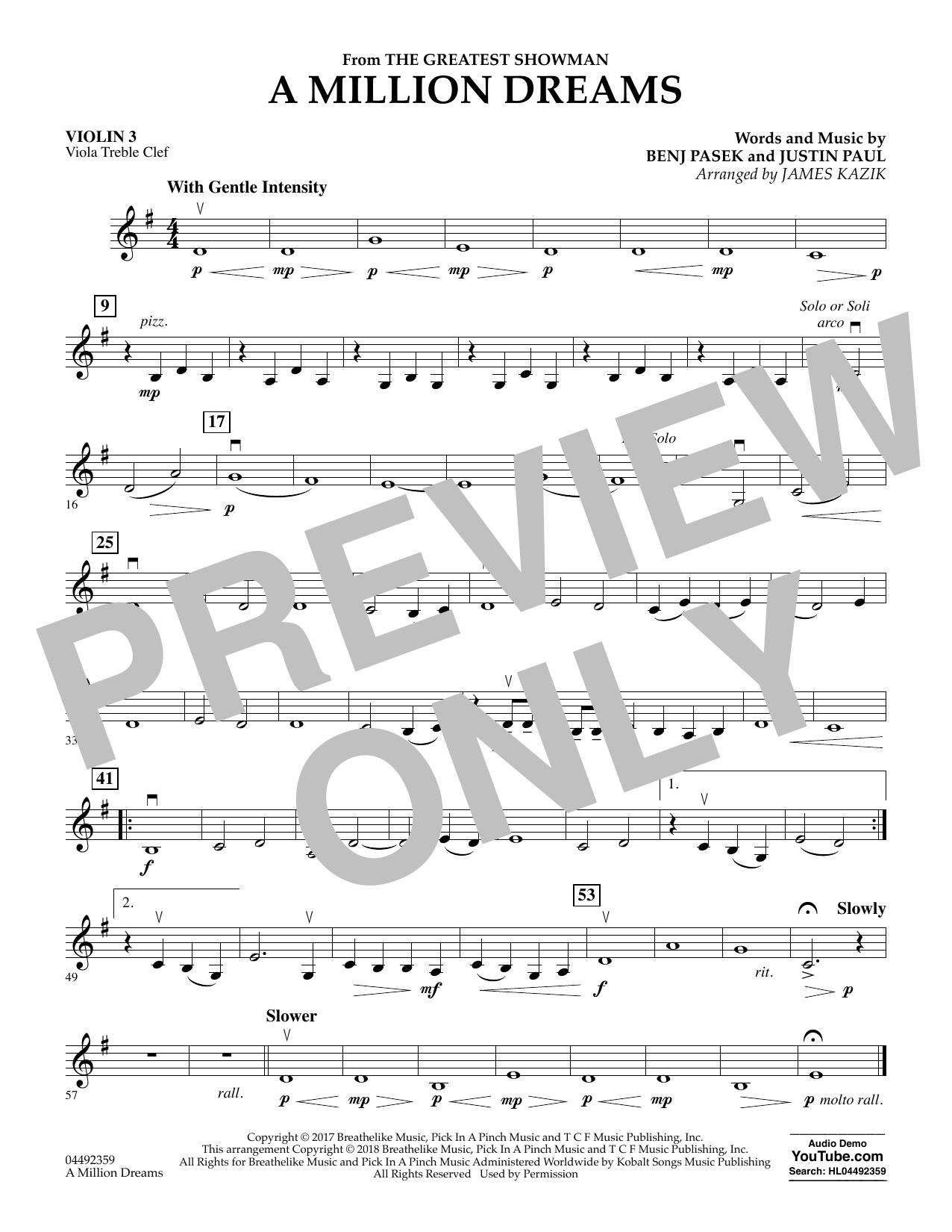 A Million Dreams (from The Greatest Showman) (arr. James Kazik) - Violin 3 (Viola Treble Clef) (Orchestra)