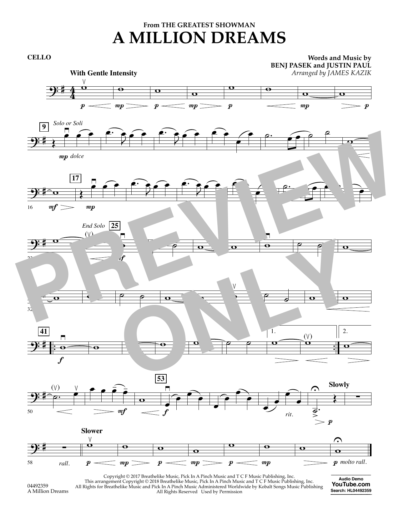 A Million Dreams (from The Greatest Showman) (arr  James Kazik) - Cello by  Pasek & Paul Orchestra Digital Sheet Music