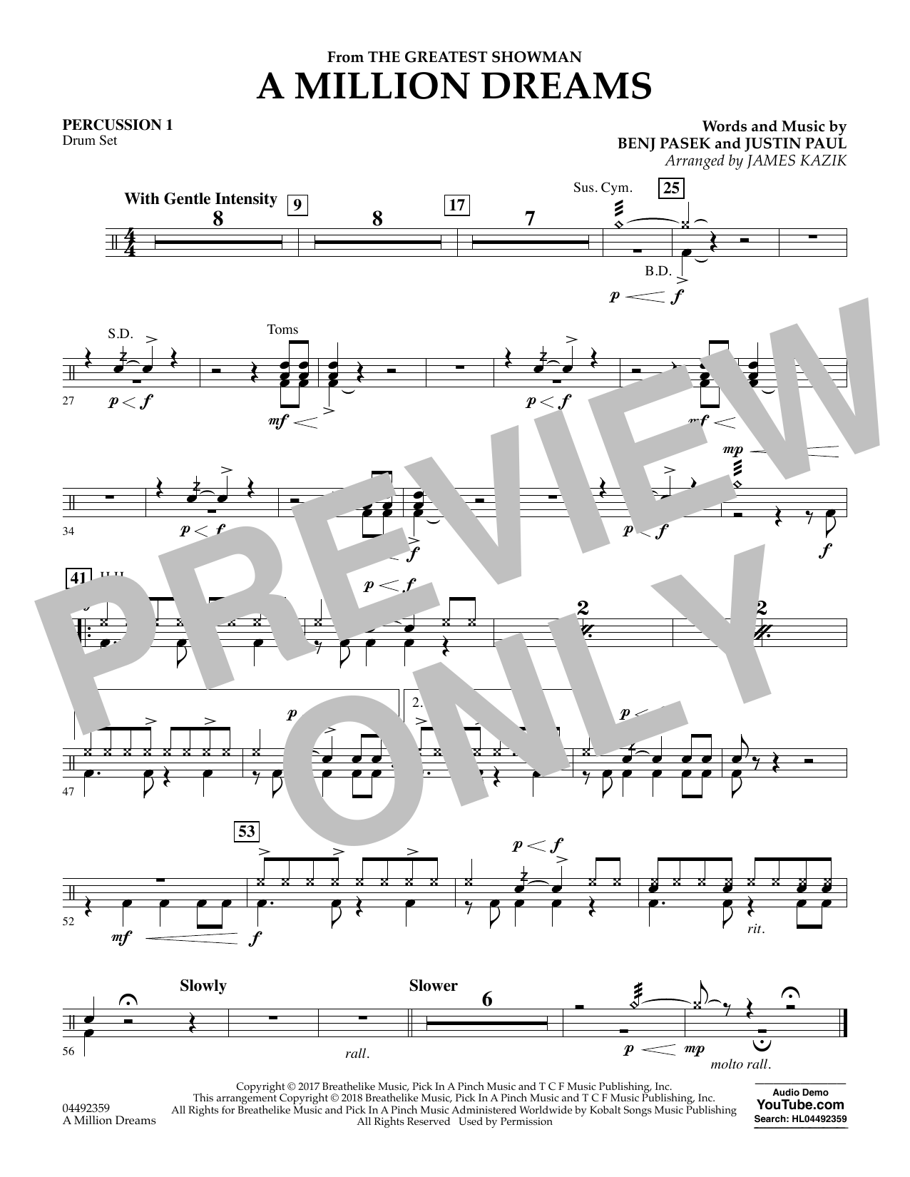 A Million Dreams (from The Greatest Showman) (arr. James Kazik) - Percussion 1 (Orchestra)