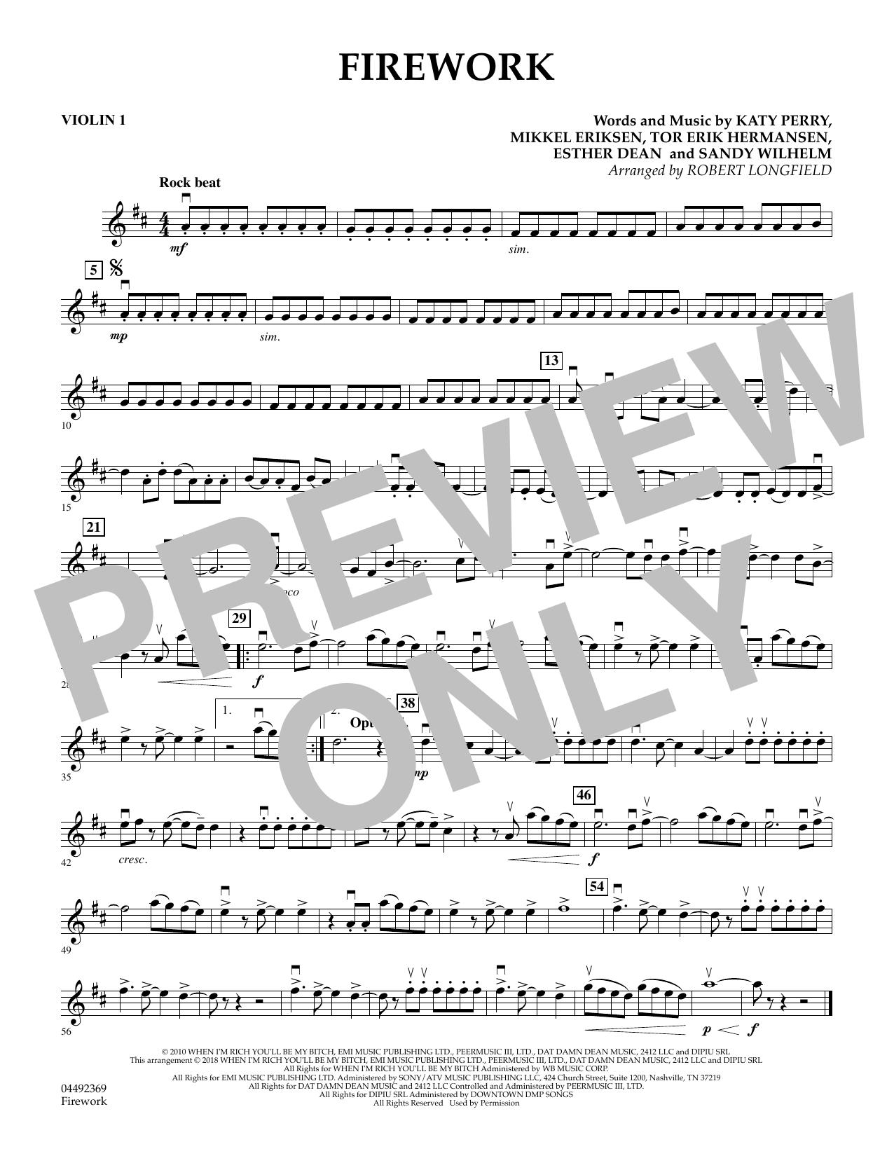 Firework (arr. Robert Longfield) - Violin 1 (Orchestra)