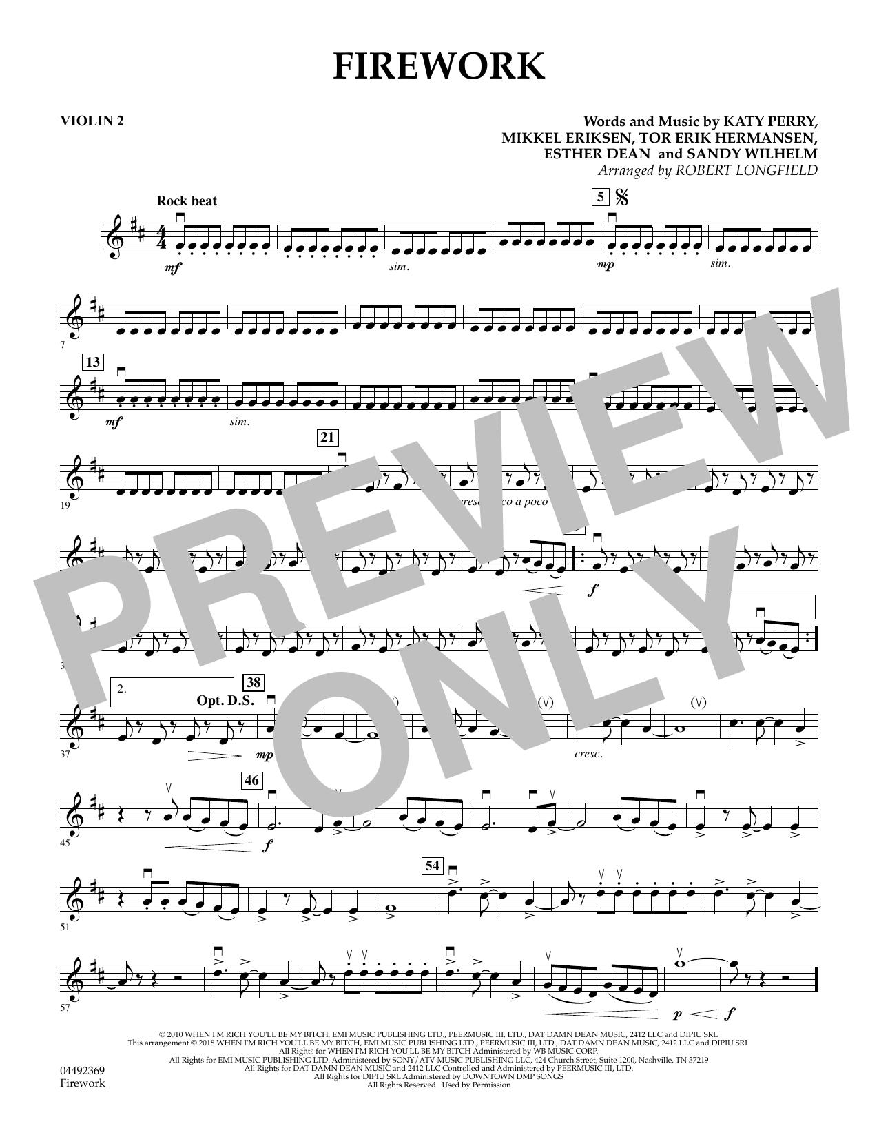 Firework (arr. Robert Longfield) - Violin 2 (Orchestra)