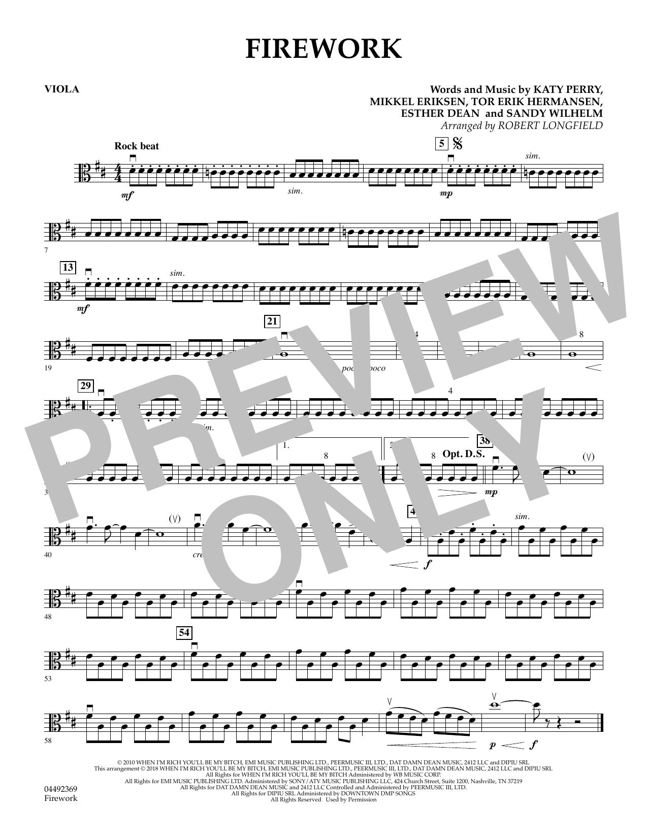 Firework (arr. Robert Longfield) - Viola (Orchestra)