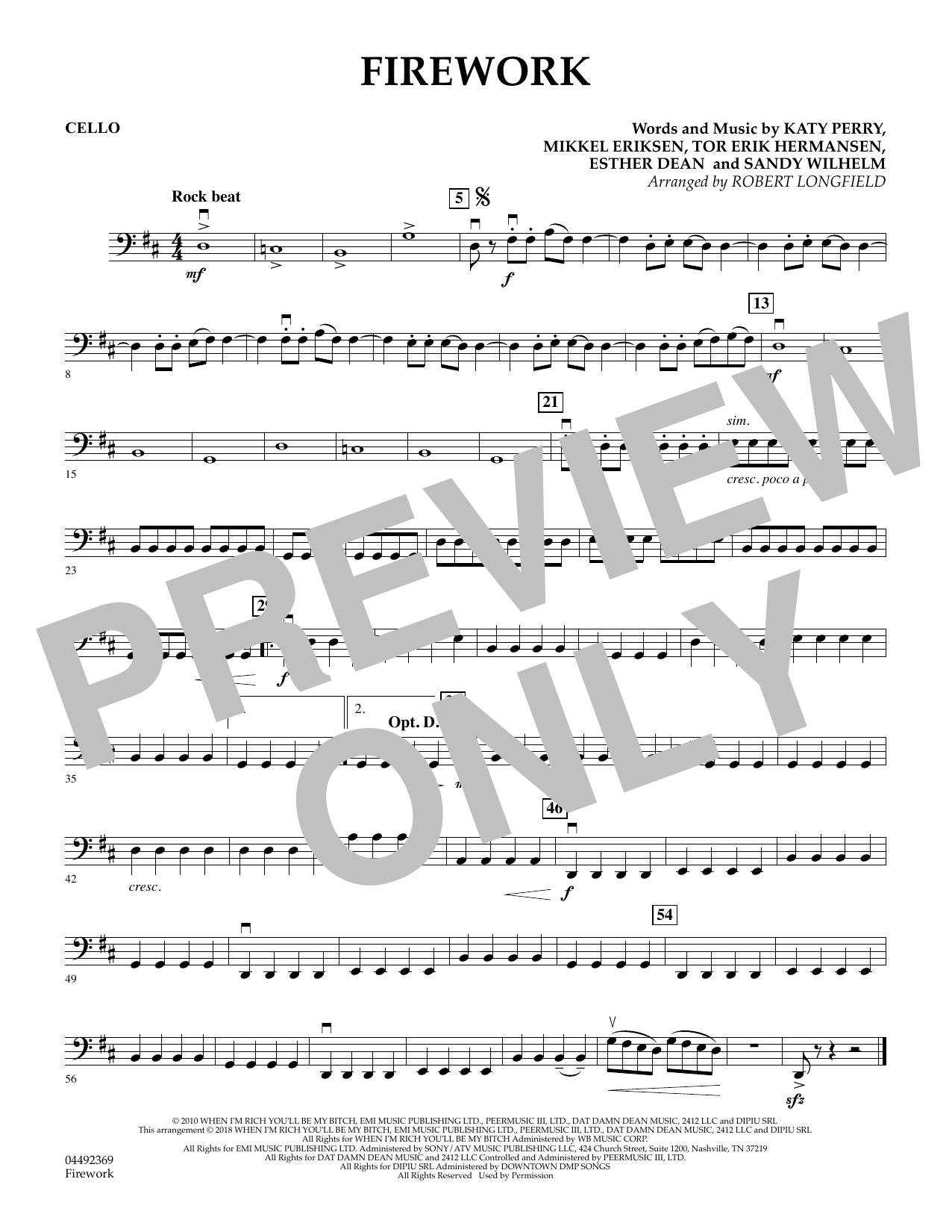 Firework (arr. Robert Longfield) - Cello (Orchestra)