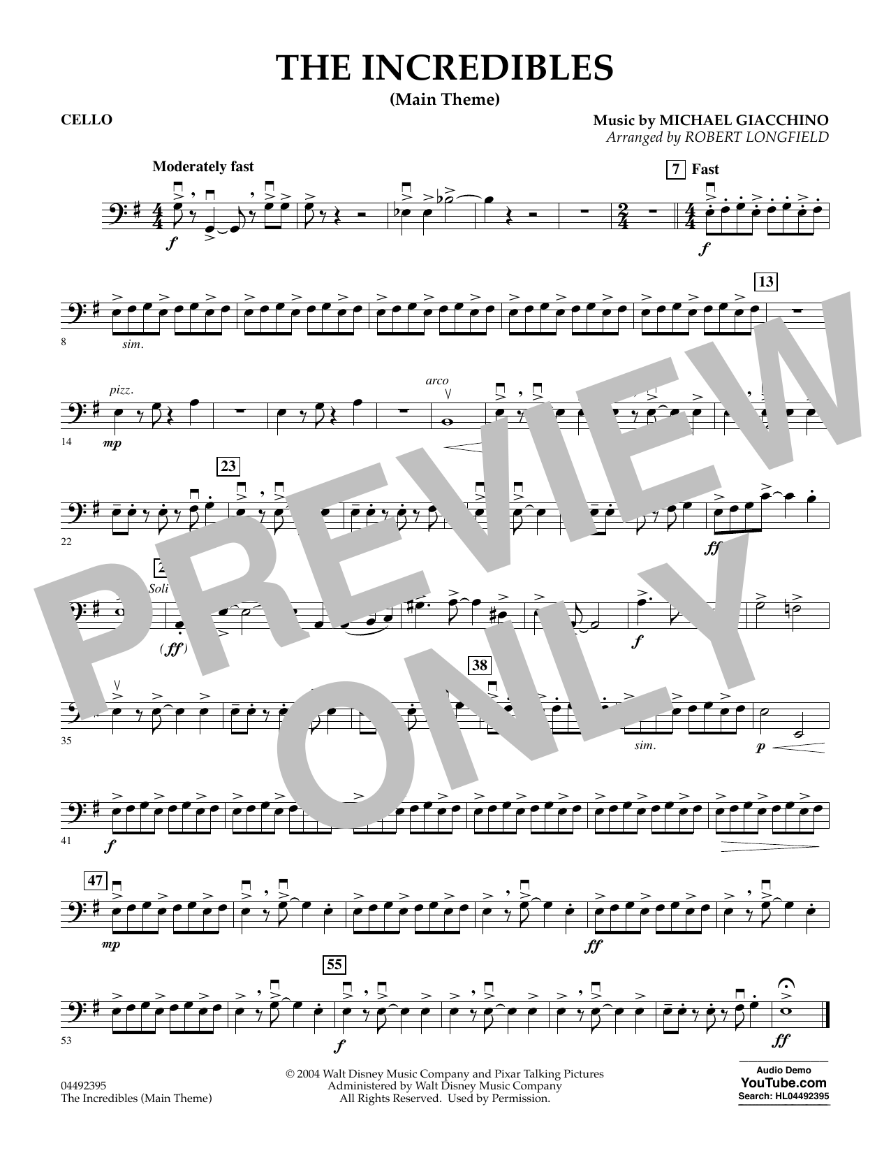 The Incredibles (Main Theme) (arr. Robert Longfield) - Cello (Orchestra)