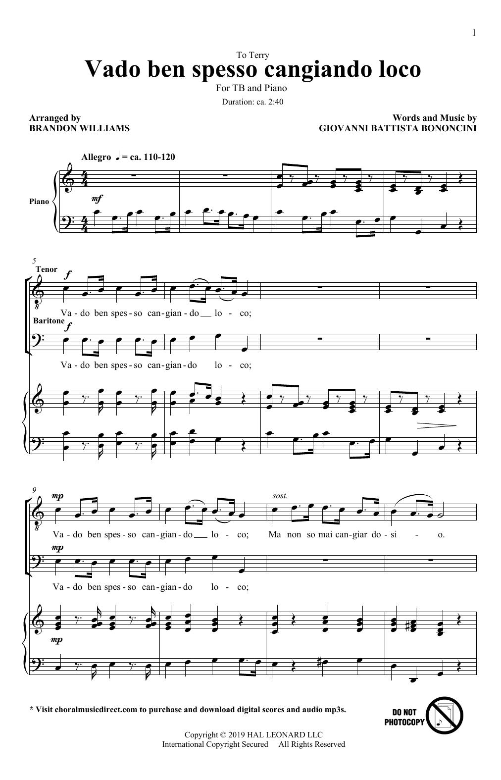 Vado Ben Spesso Cangiando Loco (arr. Brandon Williams) (TB Choir)