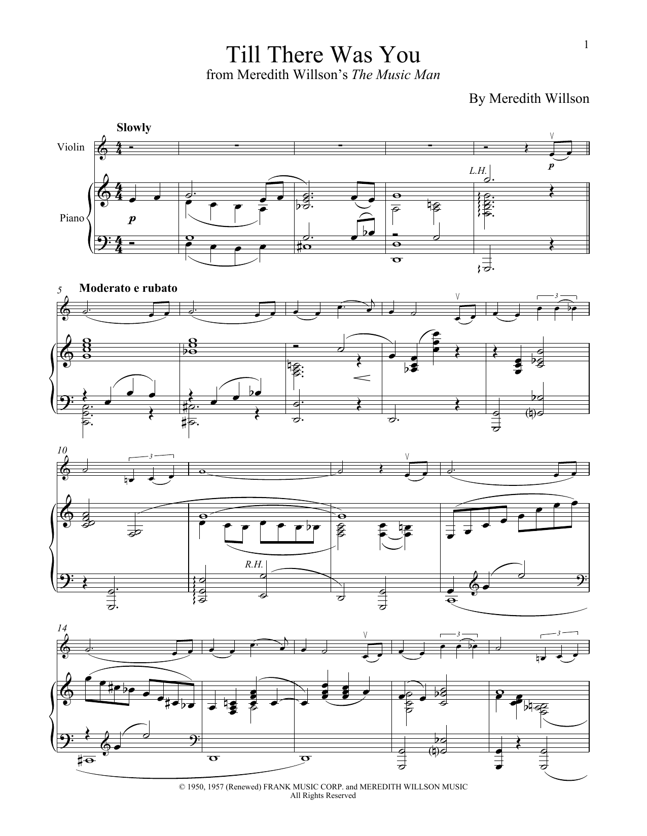 Till There Was You (from The Music Man) (Violin and Piano)