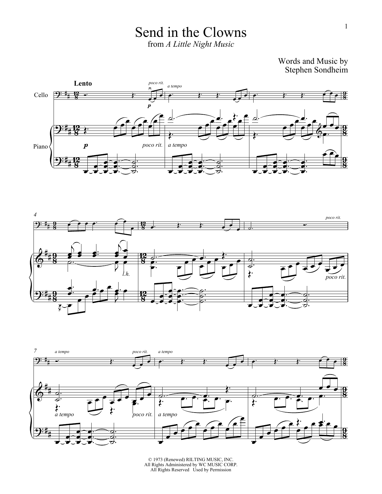 Send In The Clowns (from A Little Night Music) (Cello and Piano)