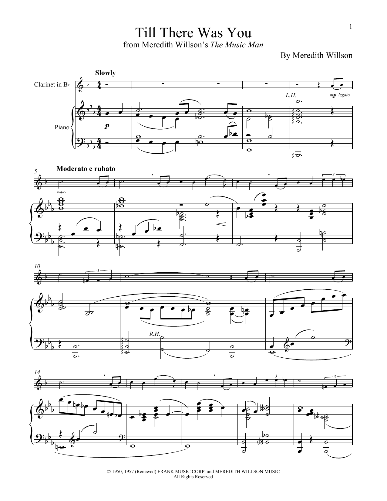 Till There Was You (from The Music Man) (Clarinet and Piano)