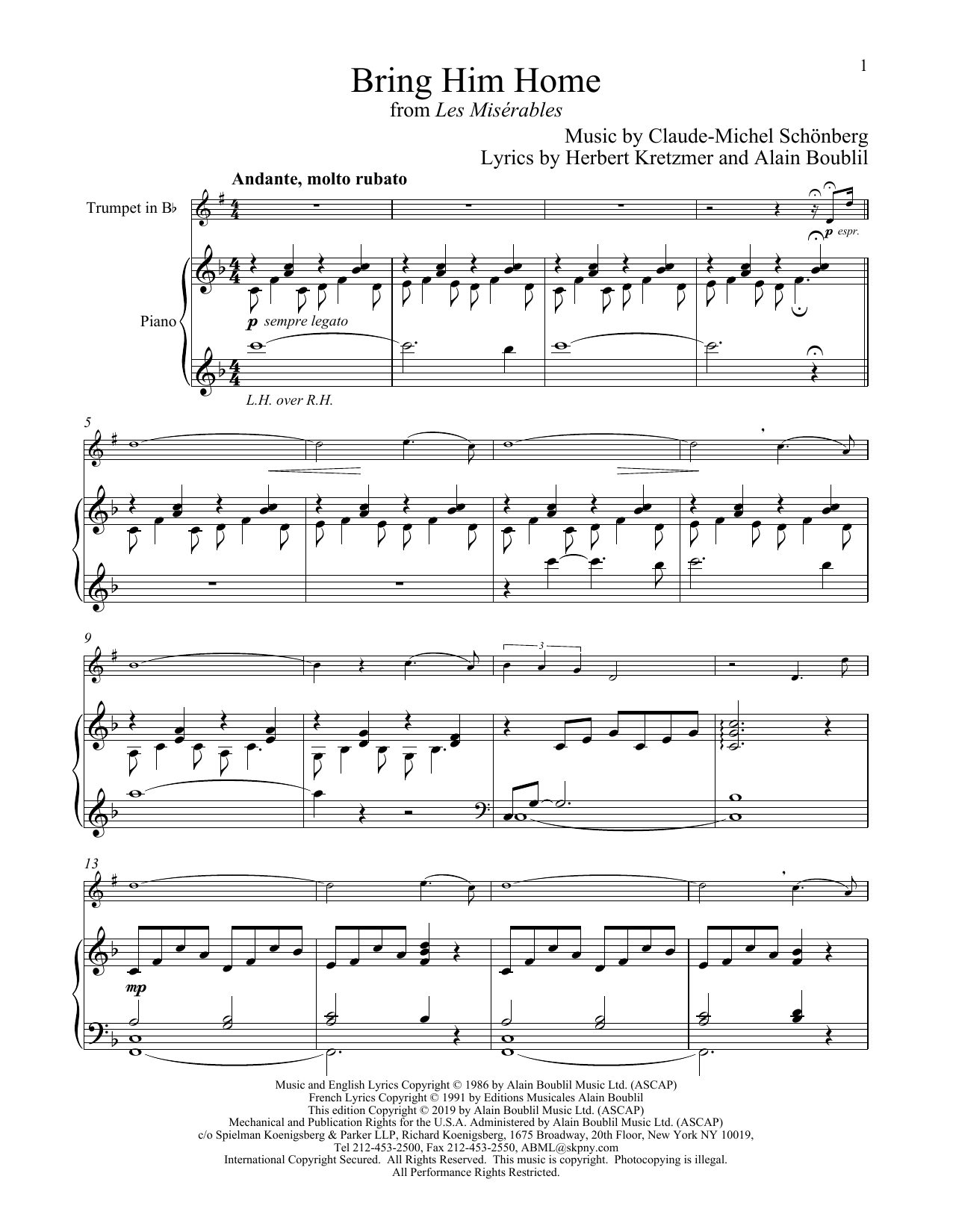Bring Him Home (from Les Miserables) (Trumpet and Piano)
