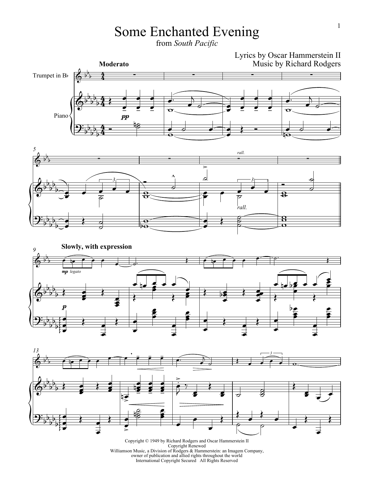 Some Enchanted Evening (from South Pacific) (Trumpet and Piano)