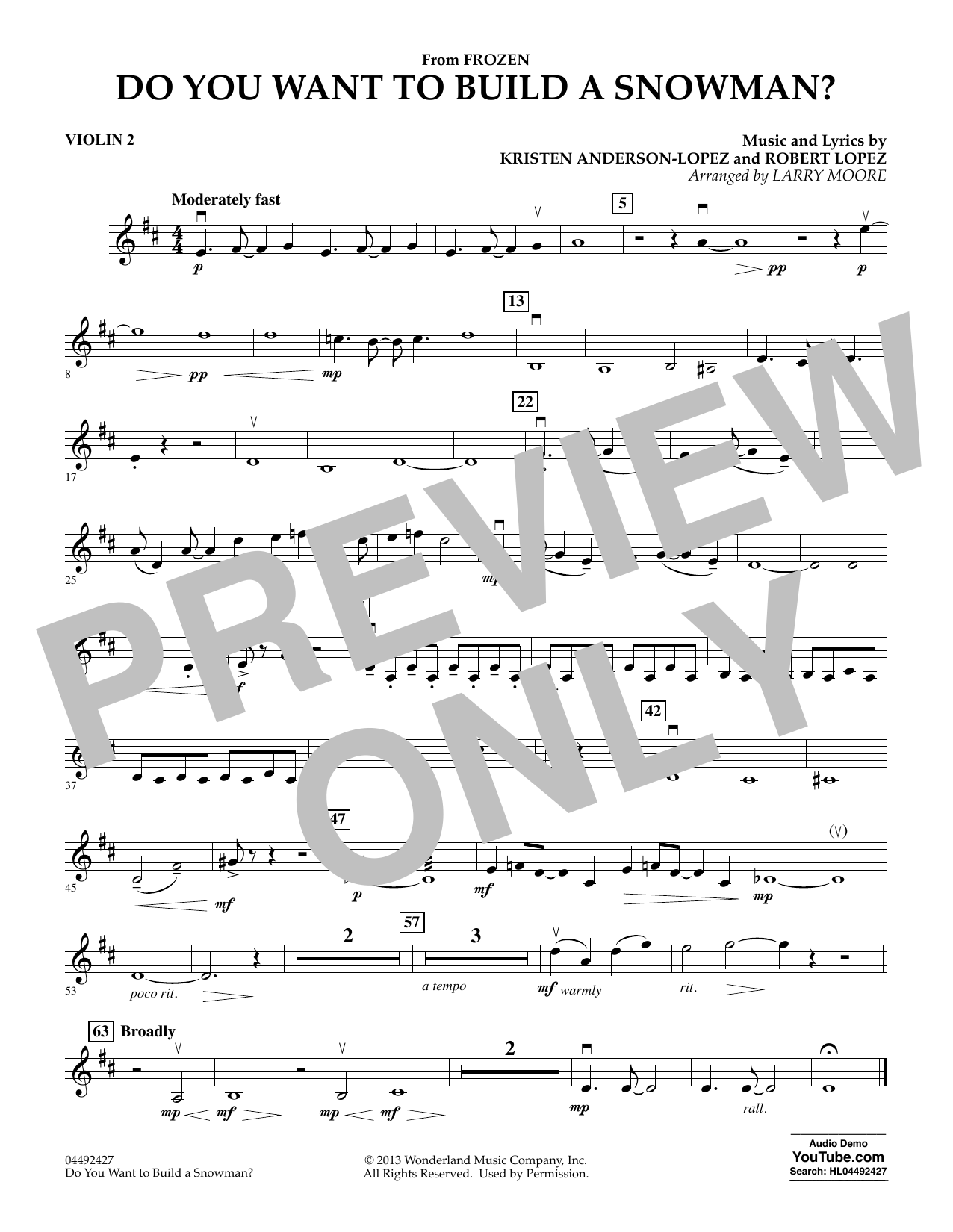 Do You Want To Build A Snowman (from Frozen) (arr. Larry Moore) - Violin 2 (Orchestra)