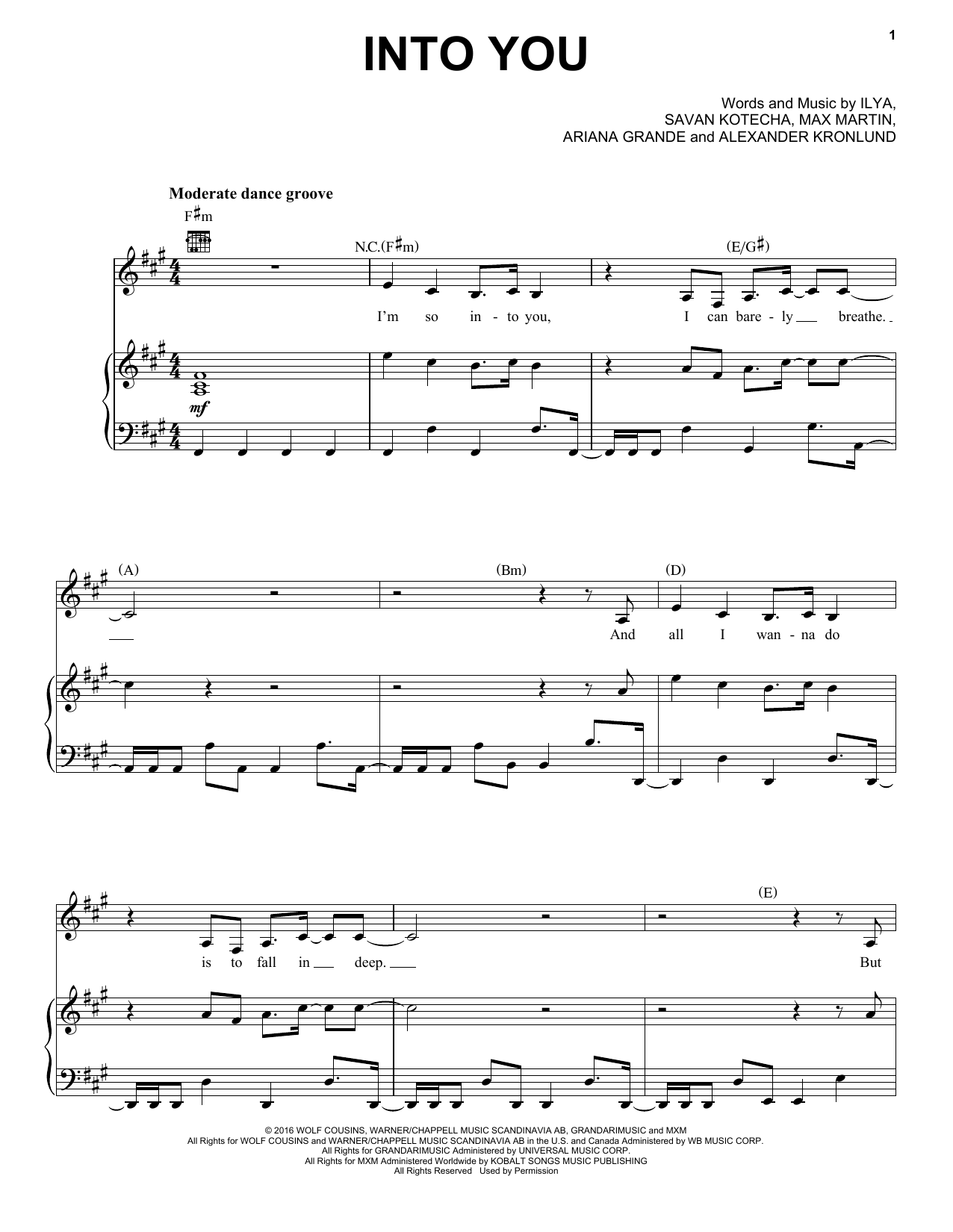 Into You (Piano, Vocal & Guitar (Right-Hand Melody))