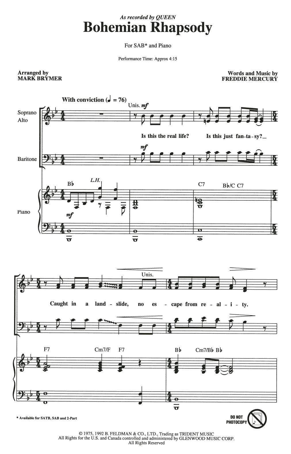 Partition chorale Bohemian Rhapsody (arr. Mark Brymer) de Queen - SAB