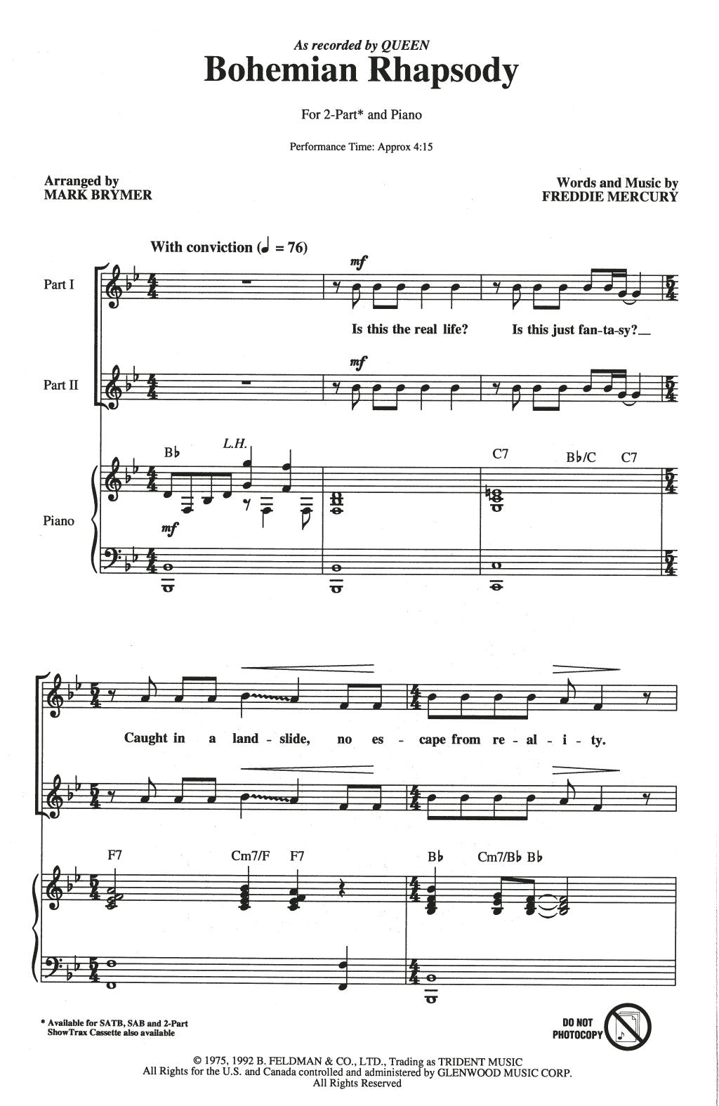 Bohemian Rhapsody (arr. Mark Brymer) (2-Part Choir)