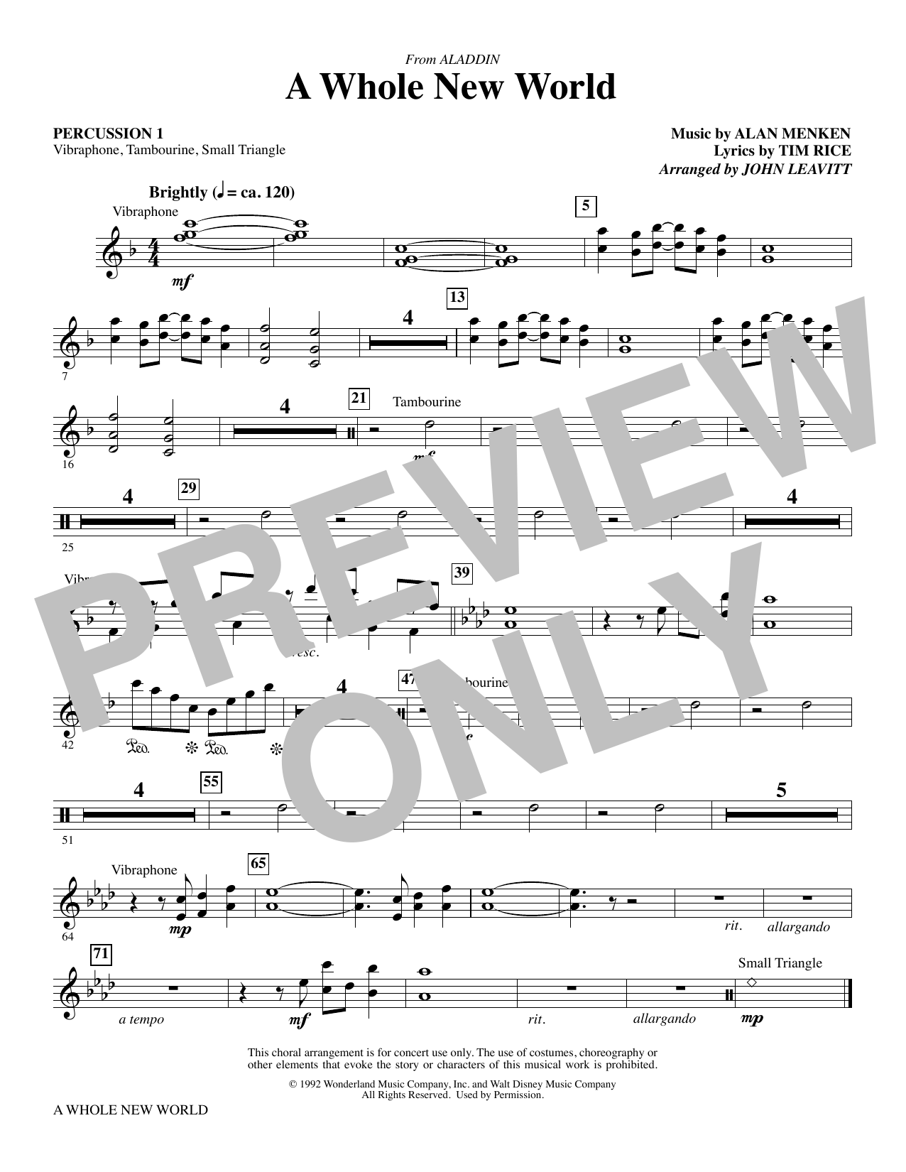 A Whole New World (from Aladdin) (arr. John Leavitt) - Percussion 1 (Choir Instrumental Pak)