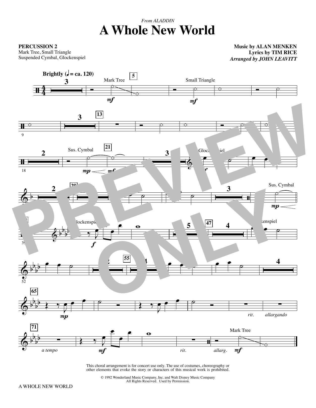A Whole New World (from Aladdin) (arr. John Leavitt) - Percussion 2 (Choir Instrumental Pak)