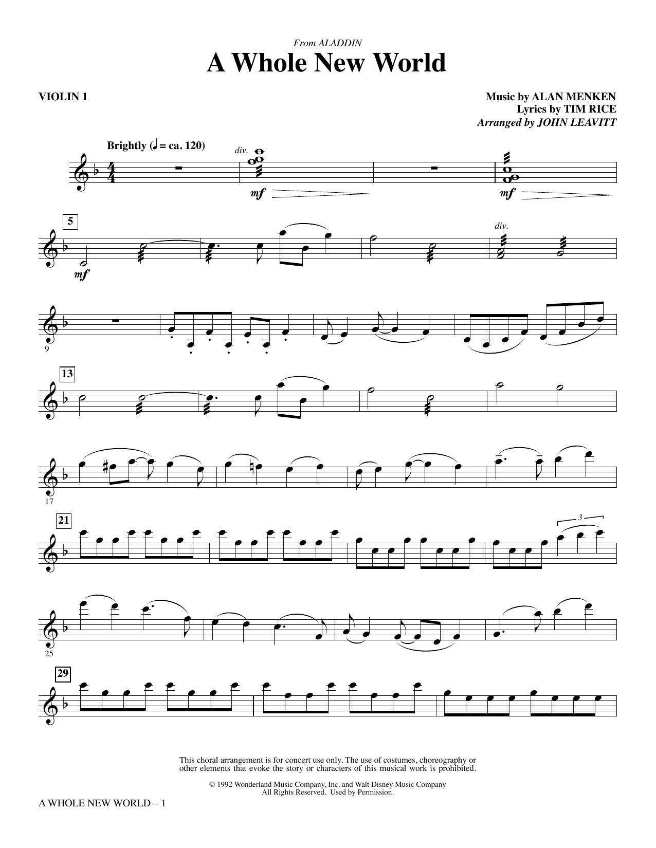 A Whole New World (from Aladdin) (arr. John Leavitt) - Violin 1 (Choir Instrumental Pak)